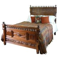 Rare Gothic Style Bed in Walnut at 1stdibs