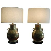 Pair of Frederick Cooper Brass Lamps For Sale at 1stdibs