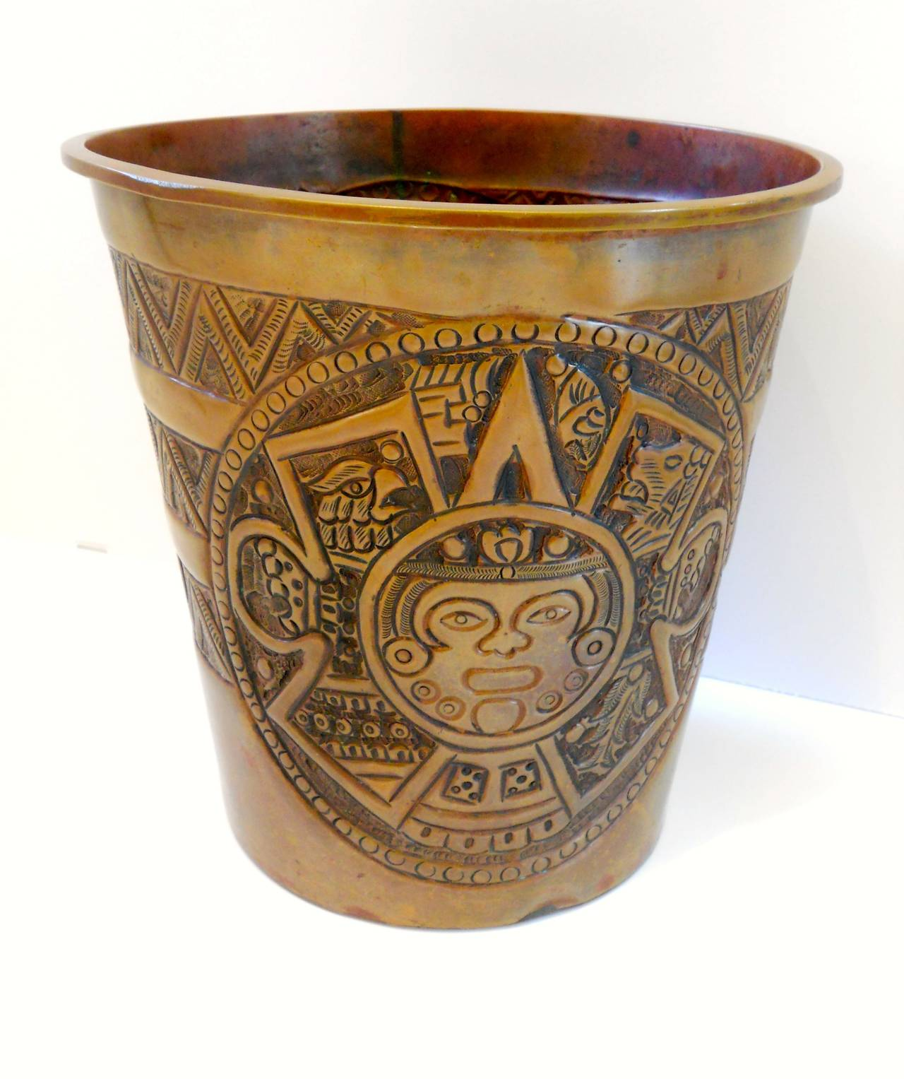 Copper Trash Can With Lid Mid Century Modern Copper Trash Can With Tribal Stamped Decoration