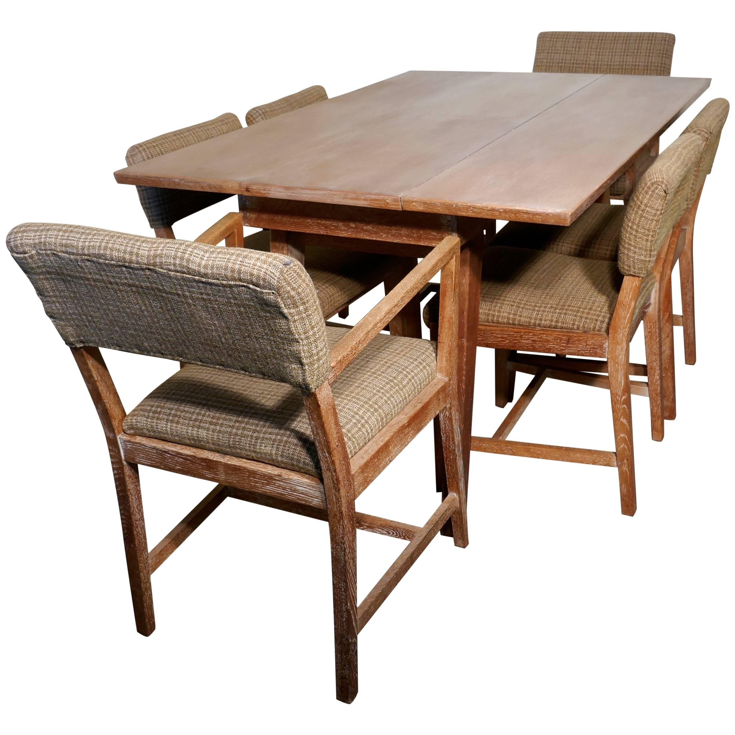 Extending Oak Table 1950s Limed Oak Extending Dining Table And Set Of Six Chairs