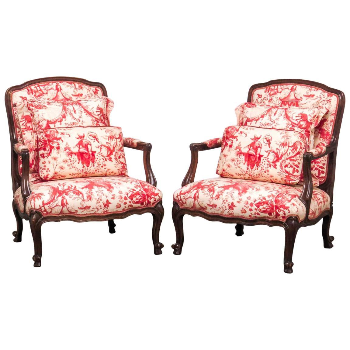 Fauteuils Toile Louis Xv Style Fauteuil Armchairs With Scalamandre Chinoiserie Toile