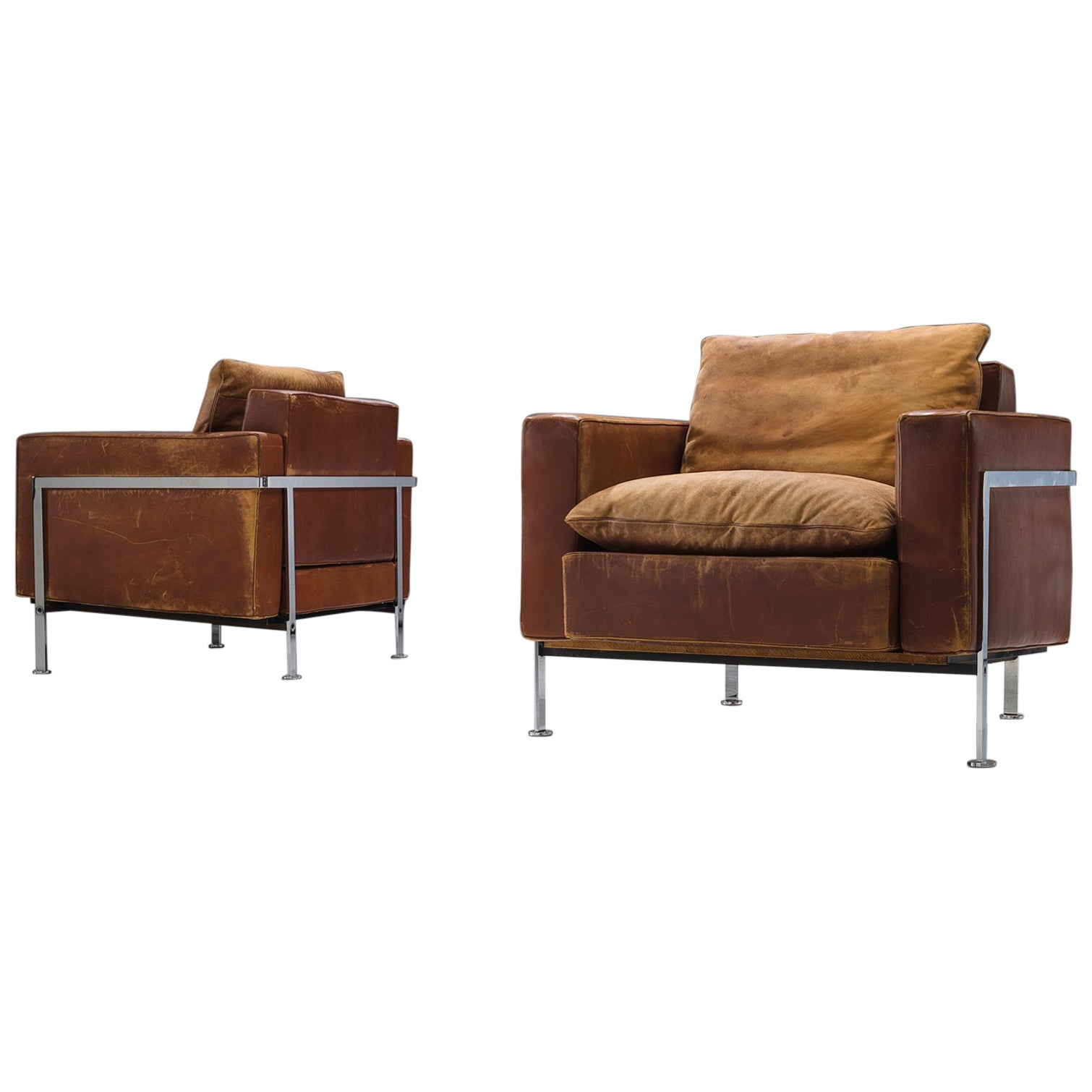 Leather Lounge Robert Hausmann Pair Of Cognac Leather Lounge Chairs For De Sede