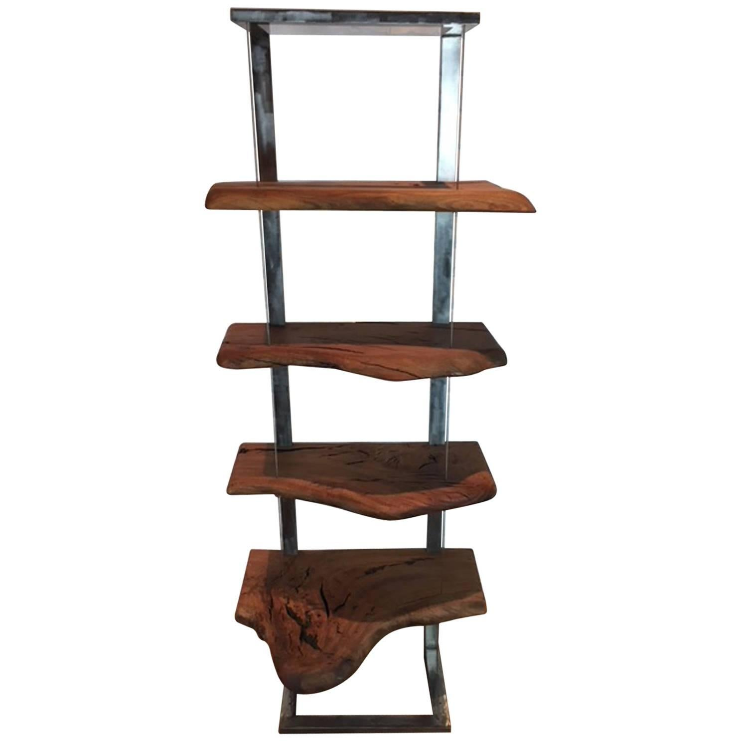 Book Display Stand Book Case Or Display Stand In Steel And Eucalyptus Wood