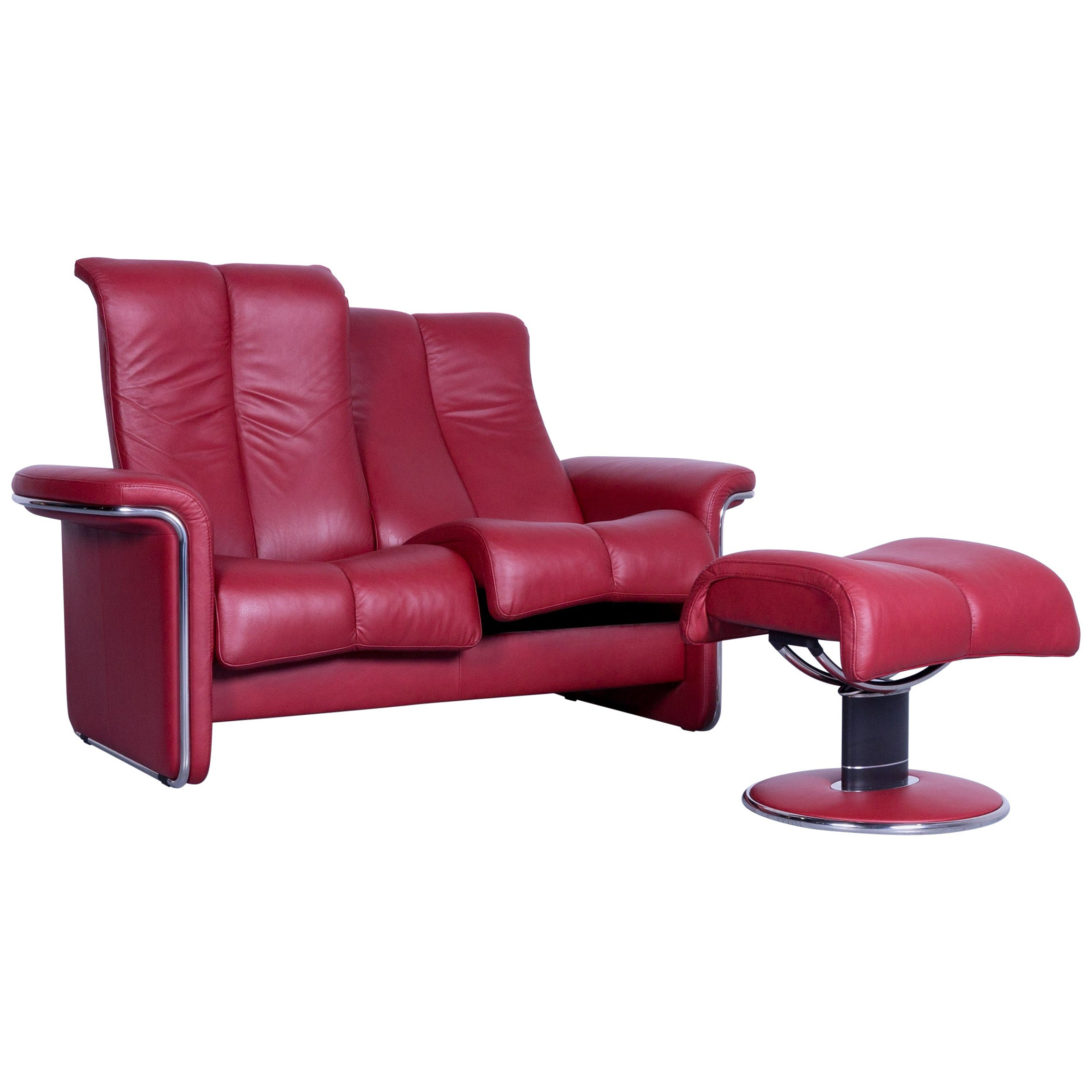 Ekornes Sofa Ekornes Stressless Soul Sofa Red Leather Two Seat And Footstool
