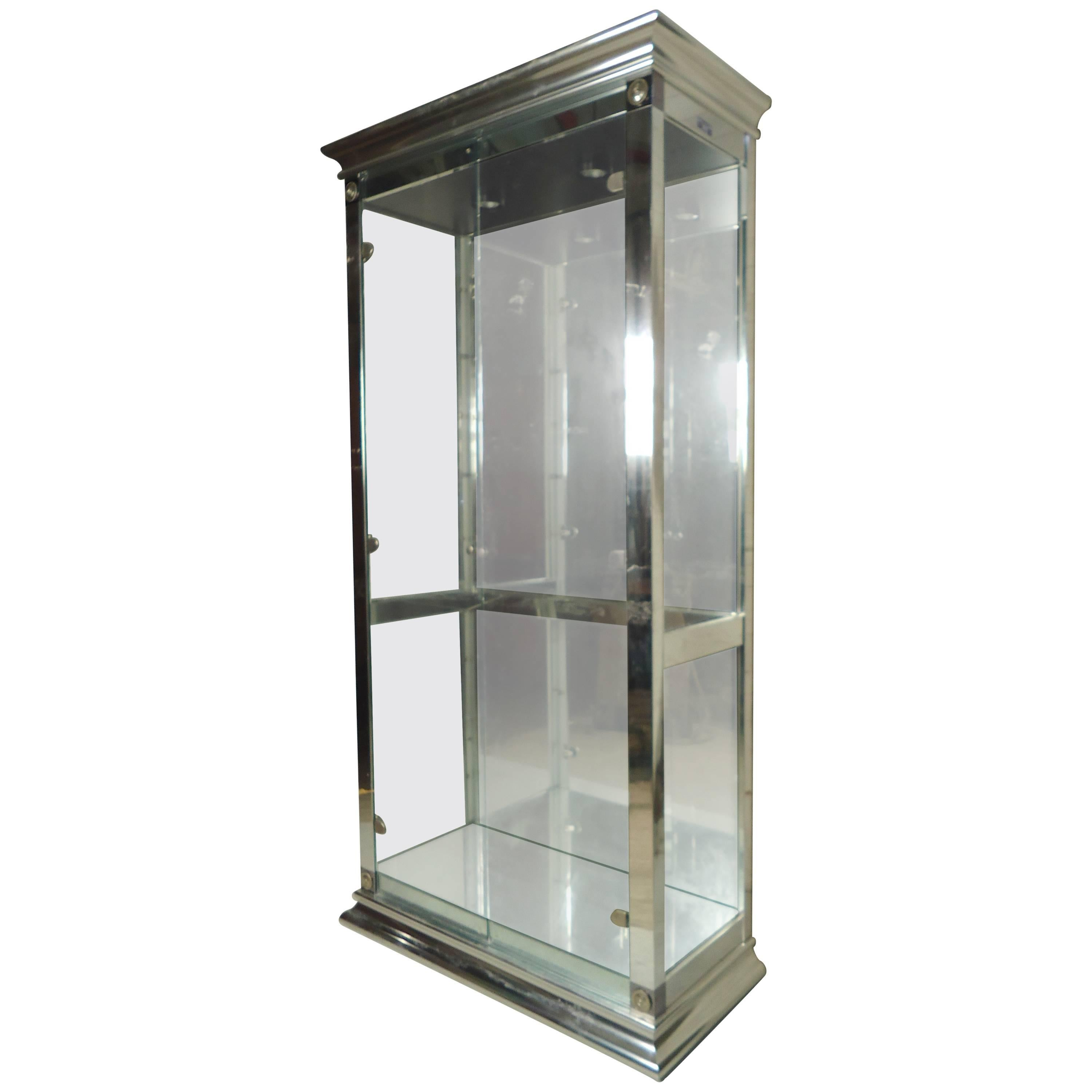 Vintage Vitrine Tall Chrome And Glass Vitrine