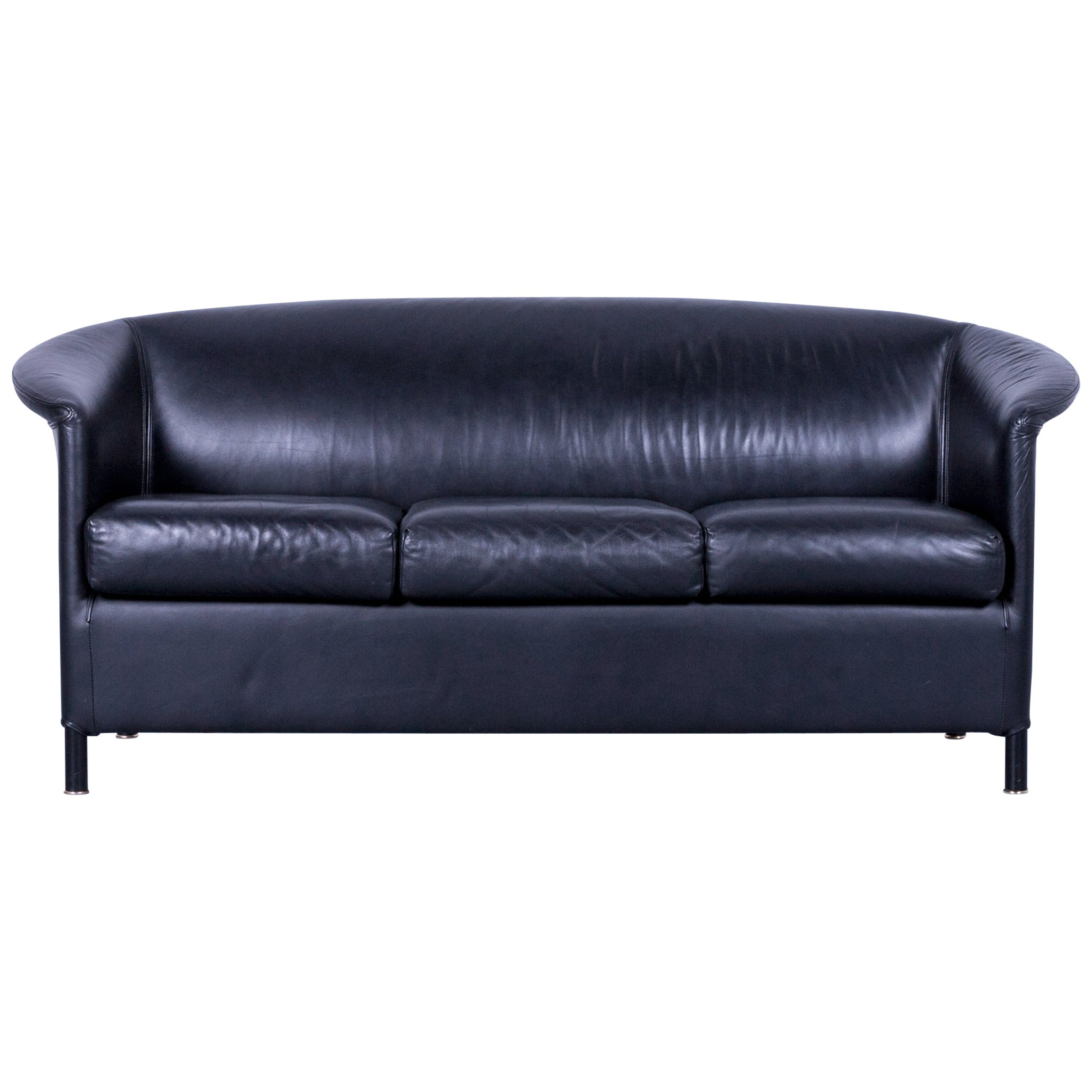 Quotes On Sofa Wittmann Aura Designer Black Leather Three Seater Sofa Or Couch