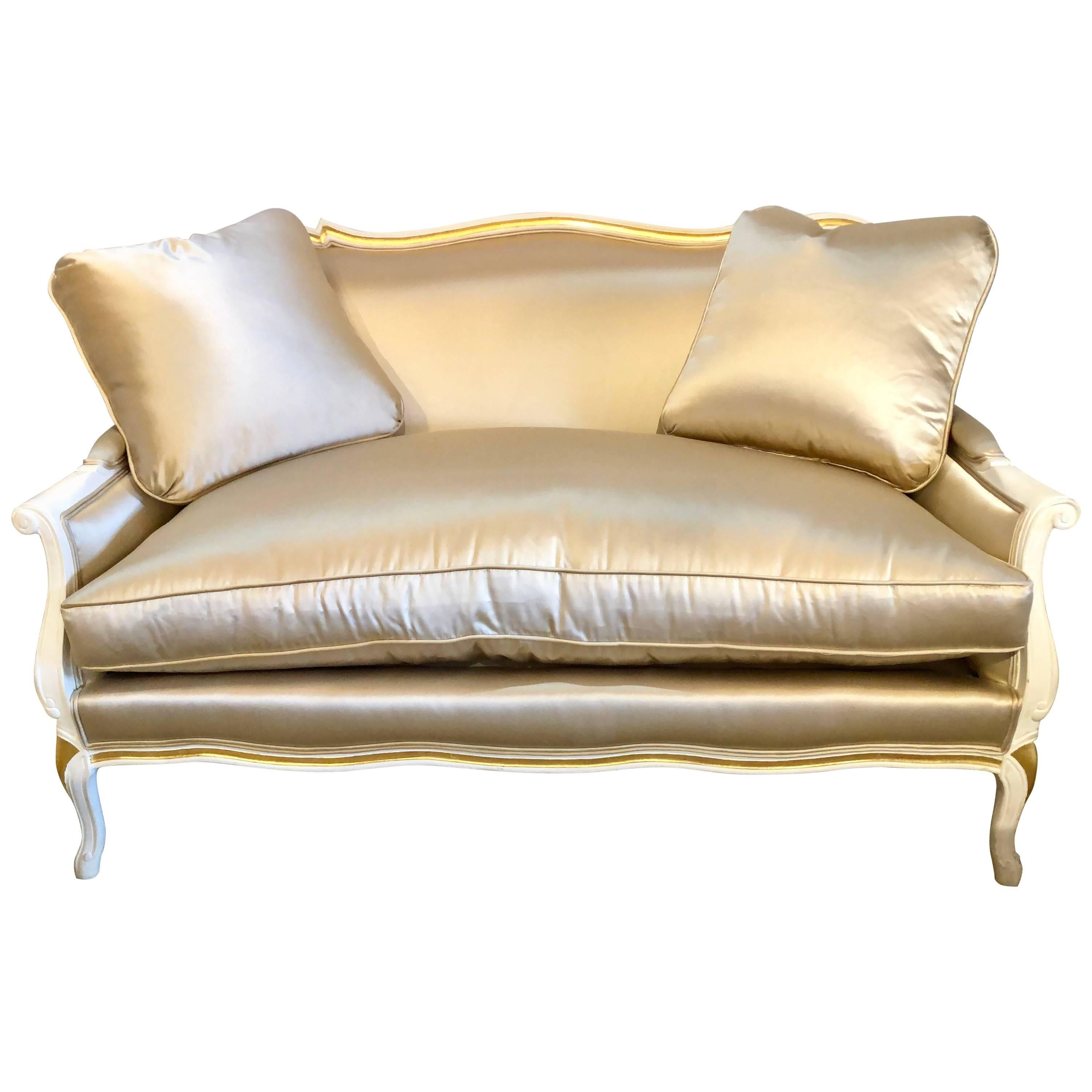 Settee Loveseat Gilt And Paint Decorated Settee Loveseat In A Fine Satin Upholstery