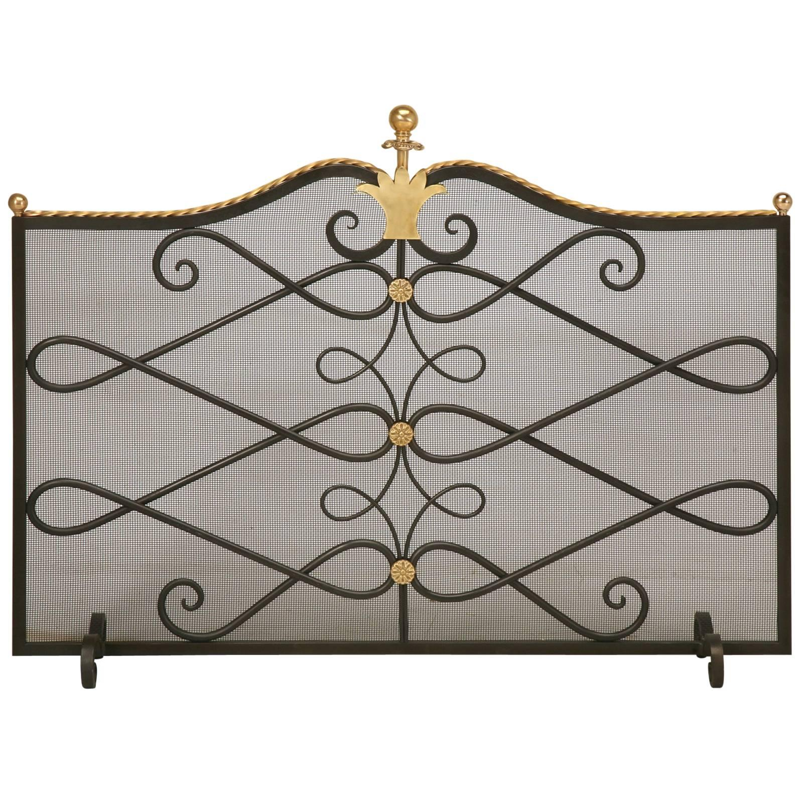 Brass Fireplace Screen Custom Steel And Brass Fireplace Screen And Mesh
