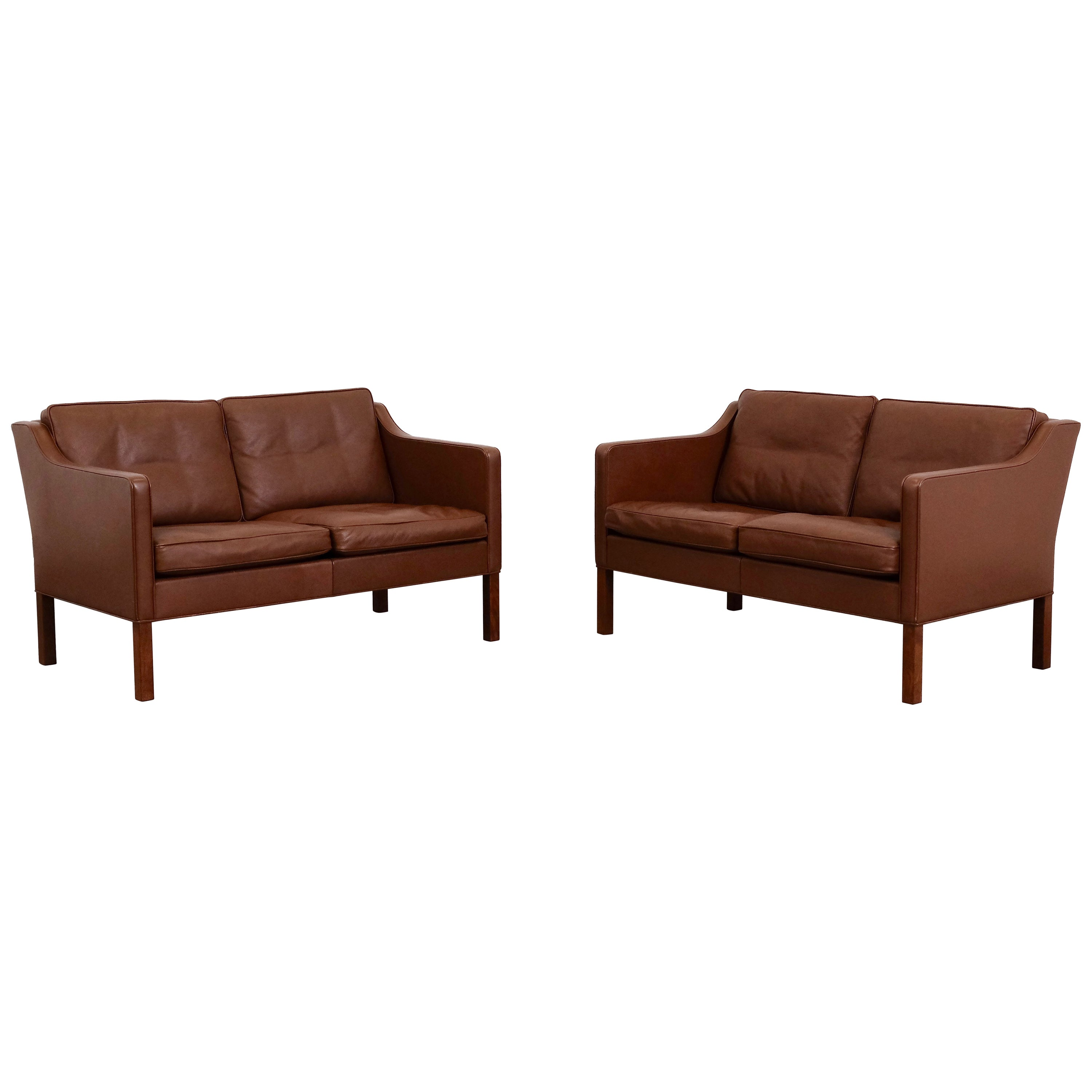 Brown Sofa And Loveseat Sets Børge Mogensen Model 2422 Fredericia Brown Leather Sofa Or Loveseat Set Of Two