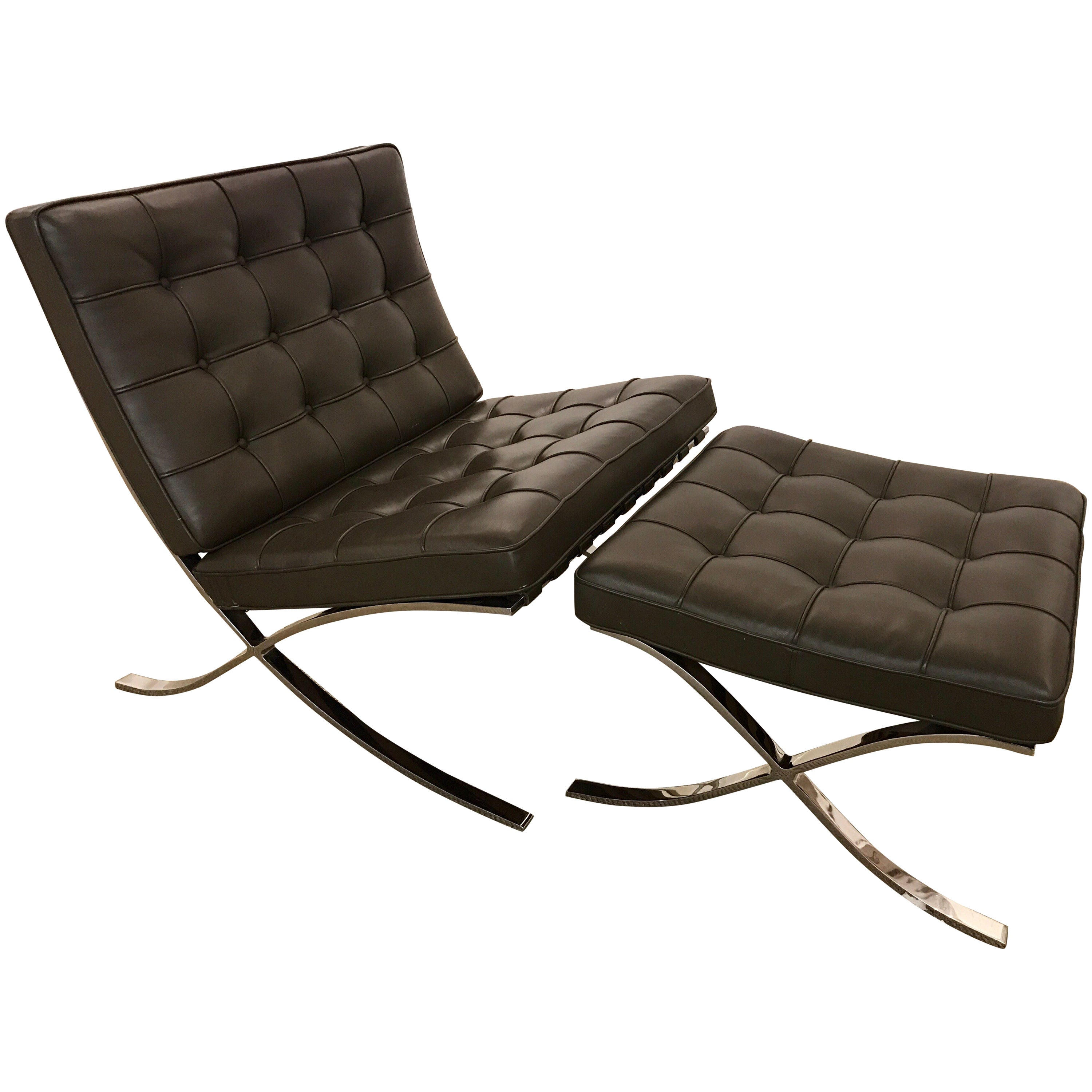 Barcelona Sessel Knoll Signed Knoll Barcelona Olive Brown Leather Chair Ottoman Mies Van Der Rohe