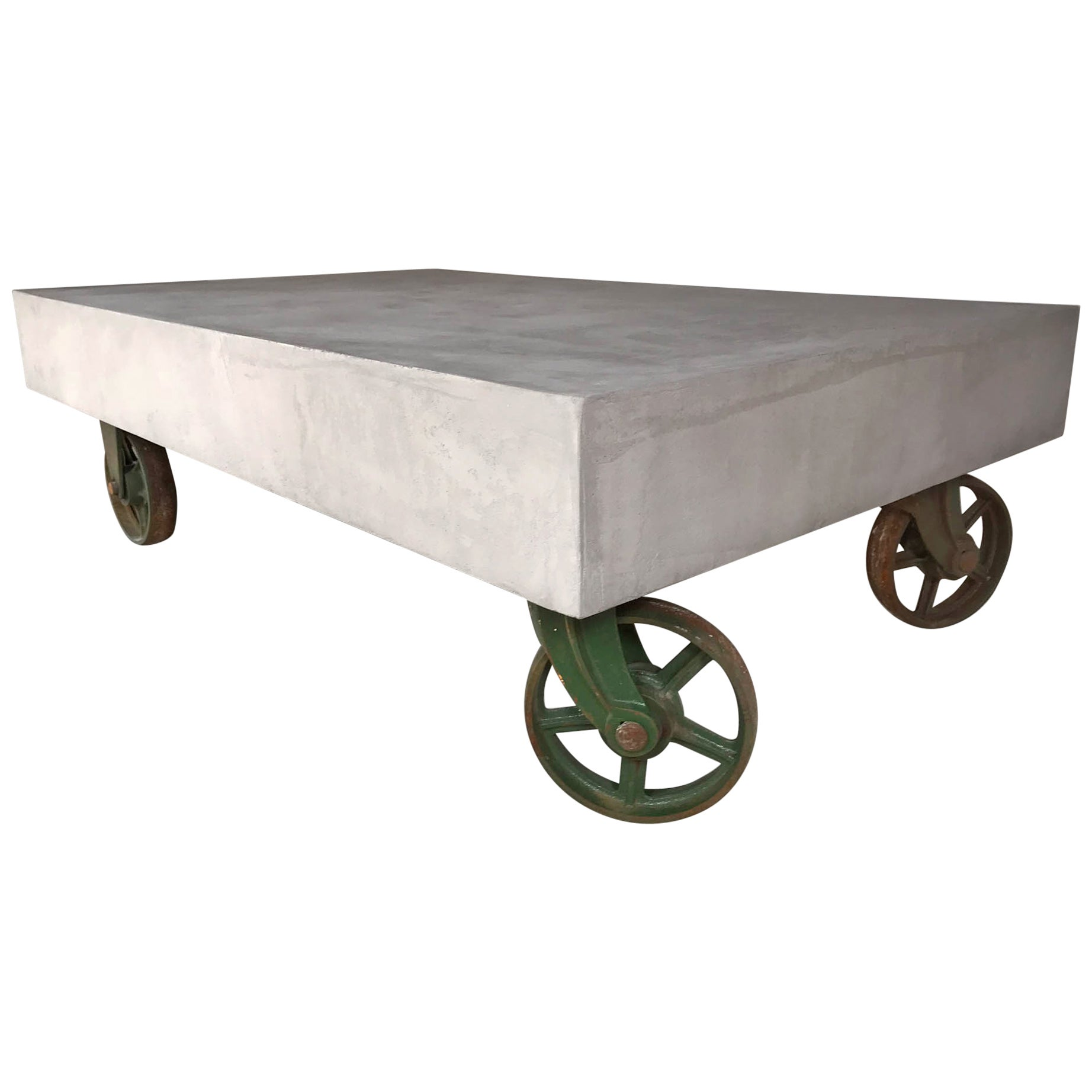 Table On Wheels 21st Century Vintage Industrial Coffee Table Wheels Concrete Style Loft Warehous