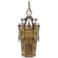Gothic Brass and Slag Glass Chandelier in the Style of ...