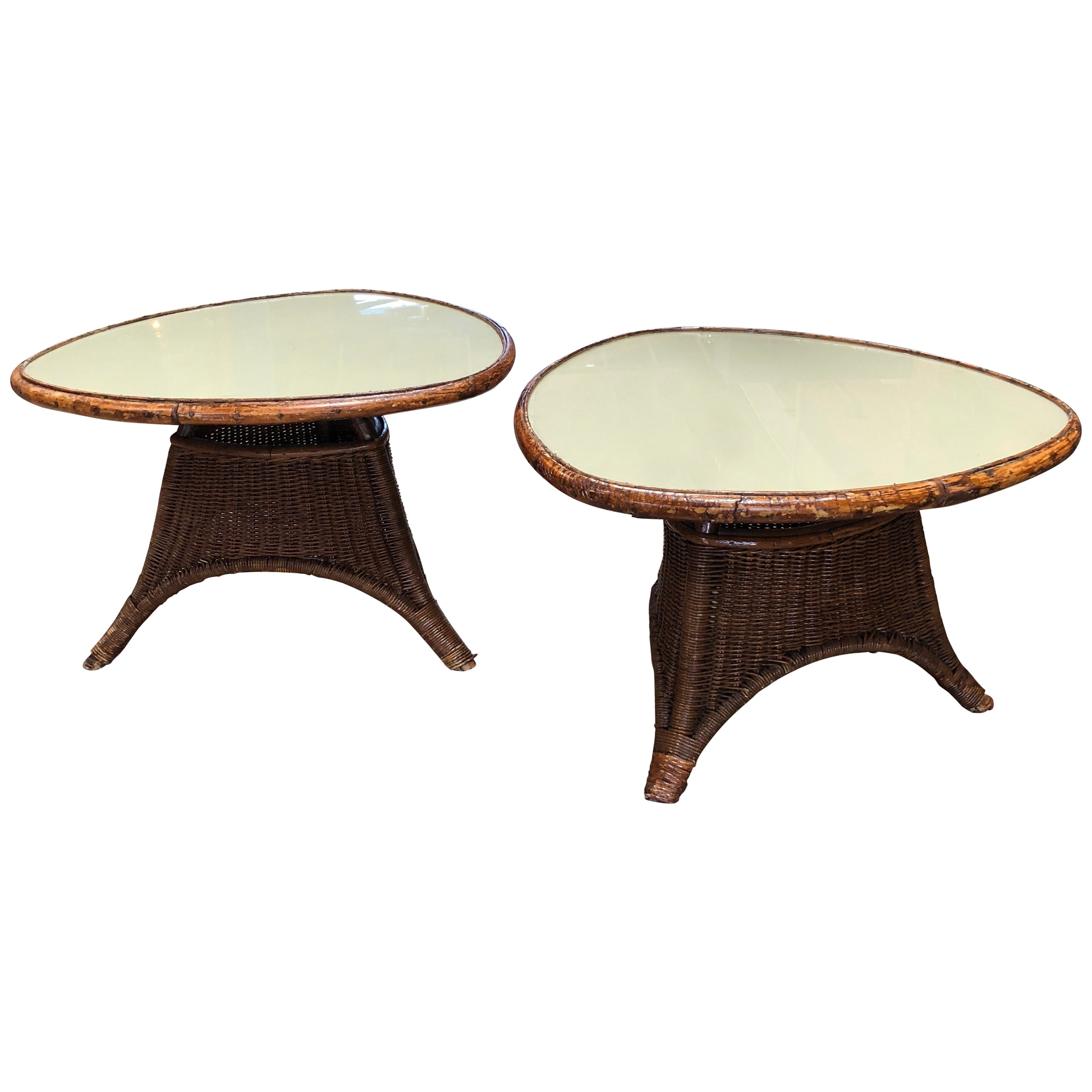 Weird Coffee Tables Pair Of Italian Coffee Tables In Rattan And Glass 1960s