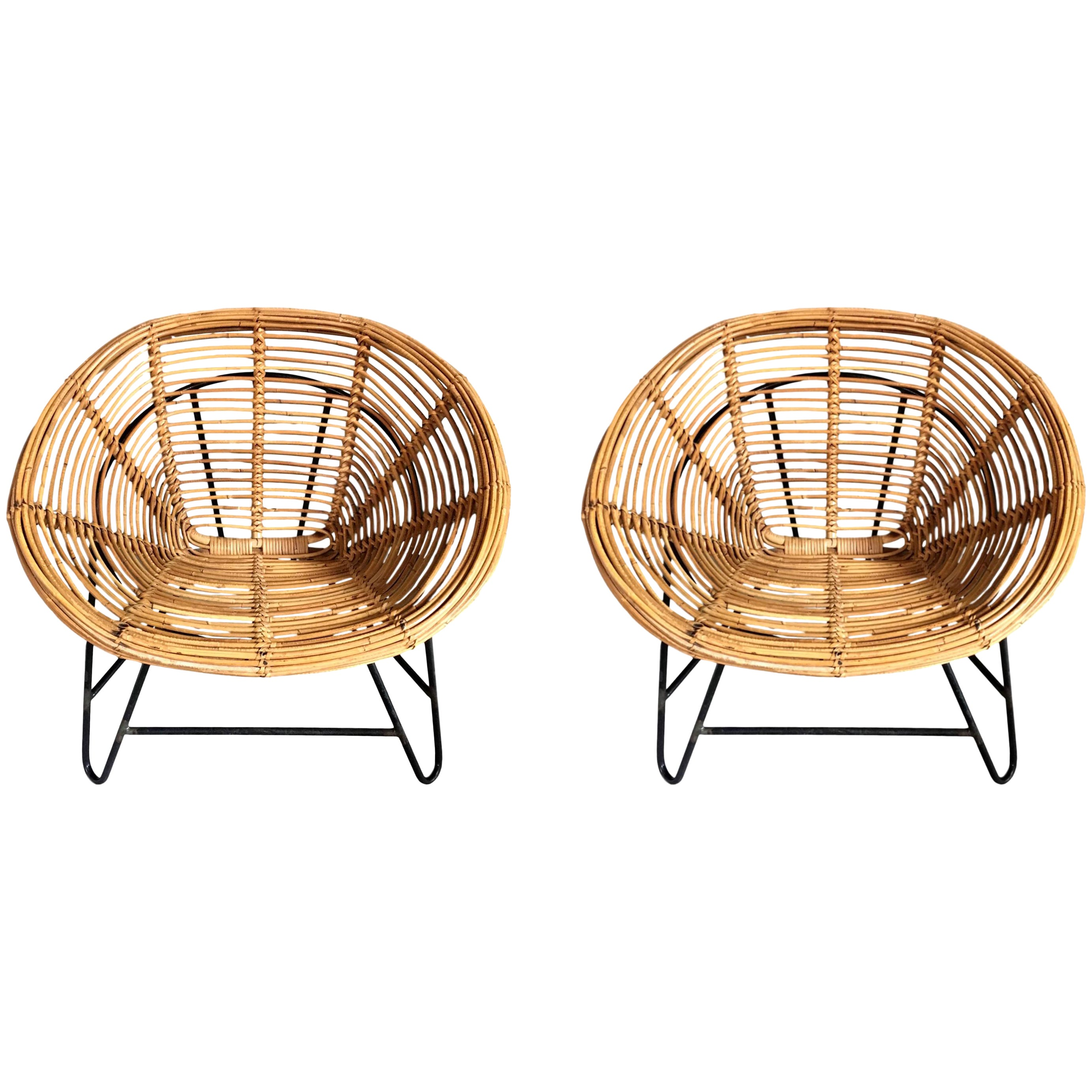 Rattan Chairs Pair Of French Rattan And Iron Chairs