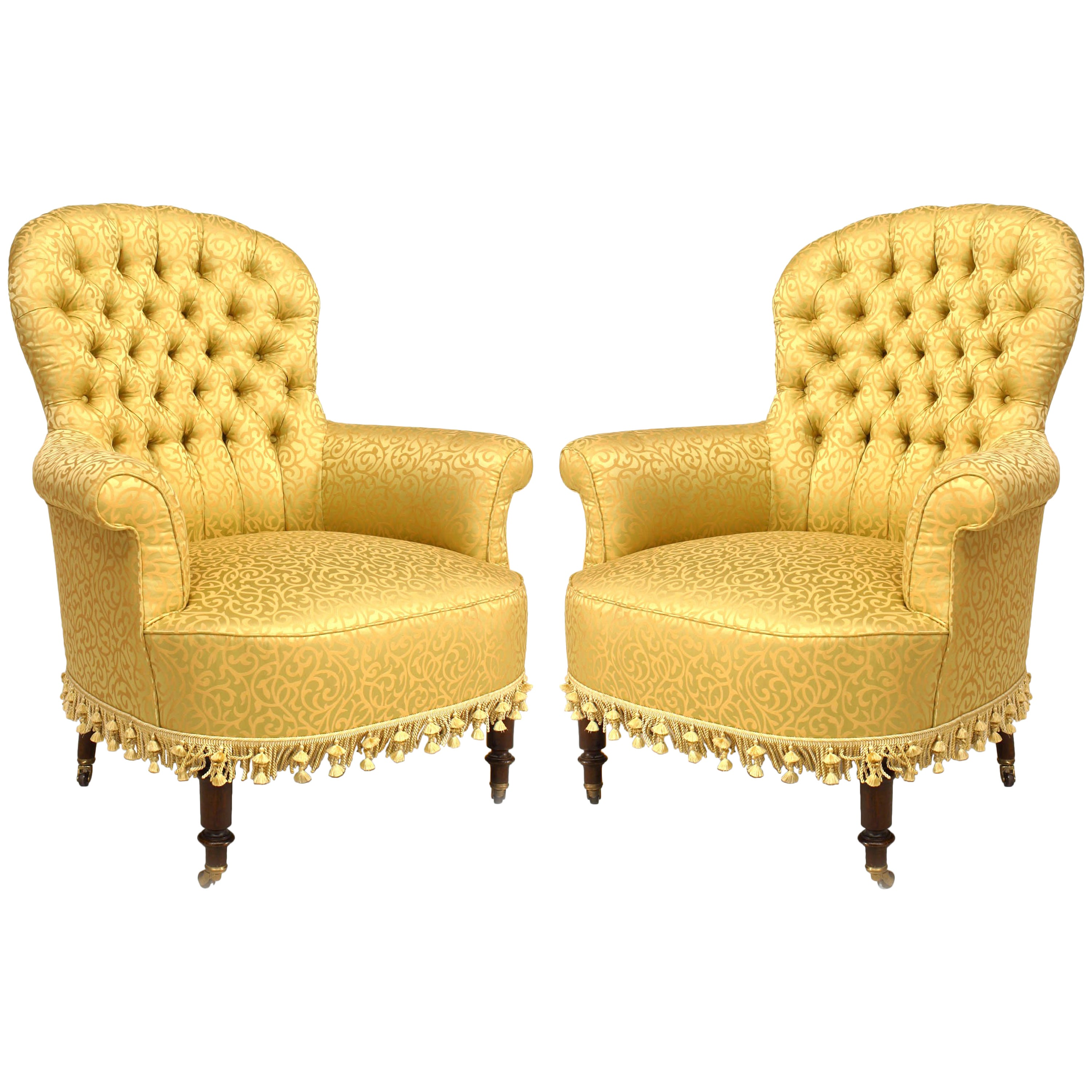 Tub Chairs Pair Of American Victorian Style 20th Century Gilt Tub Chairs