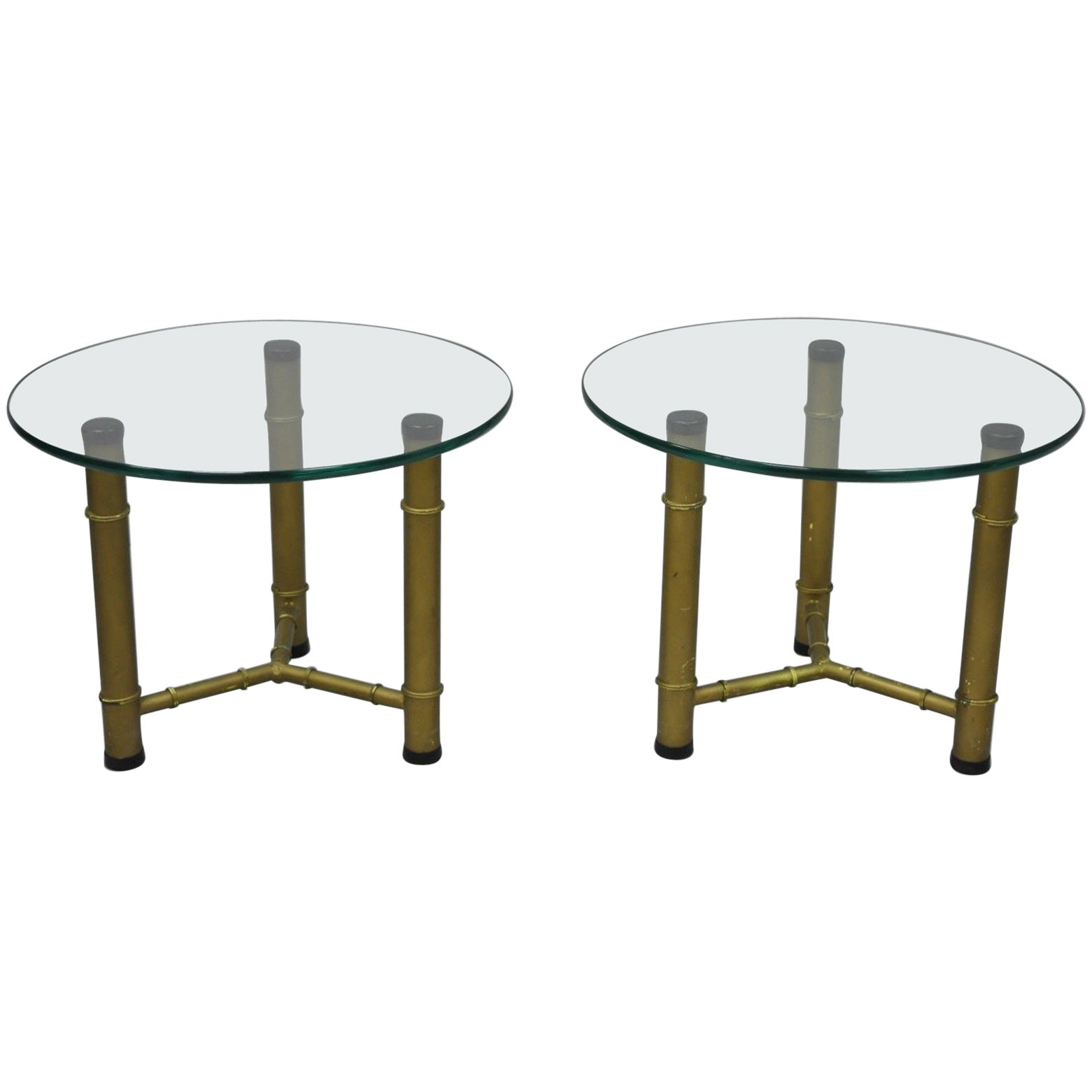 Metal Glass End Tables Pair Of Metal Faux Bamboo Round Glass Top Low Side End Tables Hollywood Regency