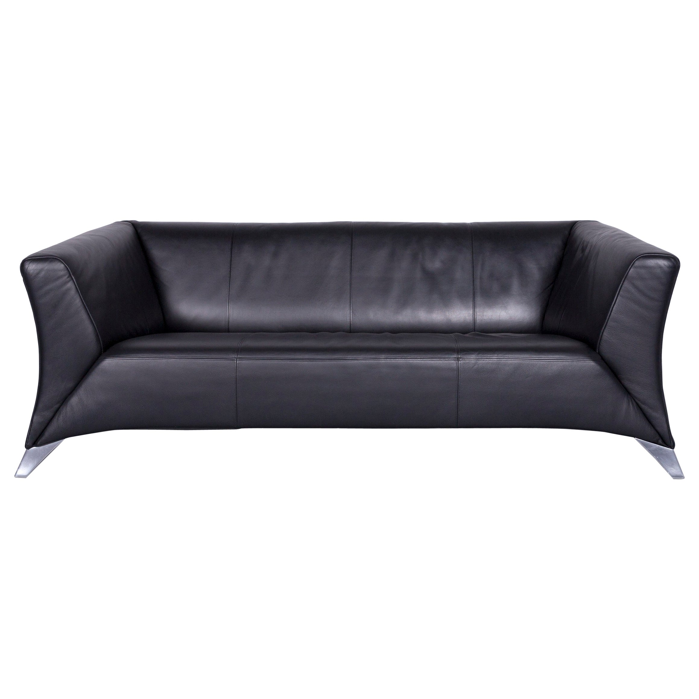 Rolf Benz Couch Rolf Benz 322 Designer Sofa Black Two Seat Leather Modern Couch