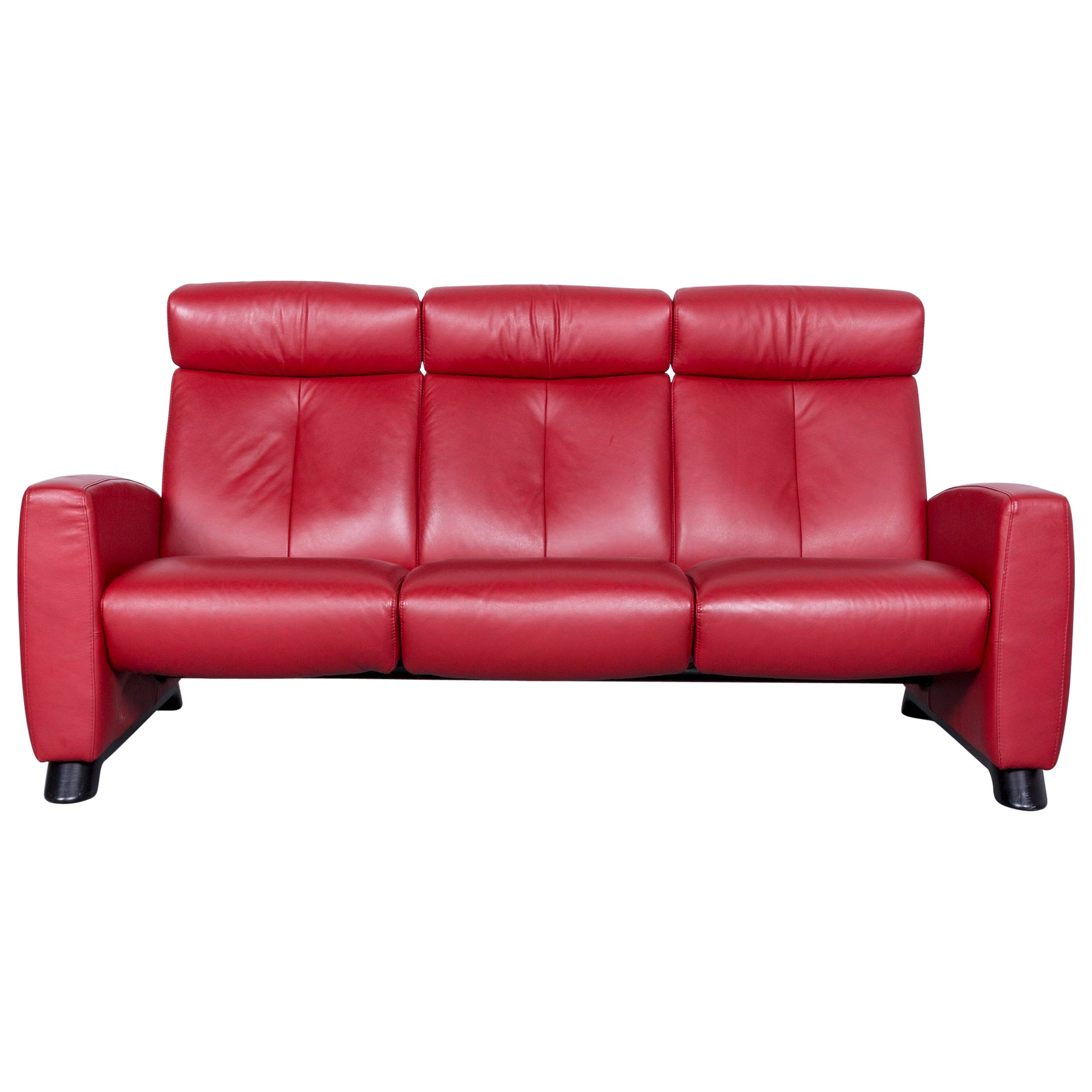 Ekornes Sofa Ekornes Stressless Relax Sofa Red Leather Tv Recliner Two Seat
