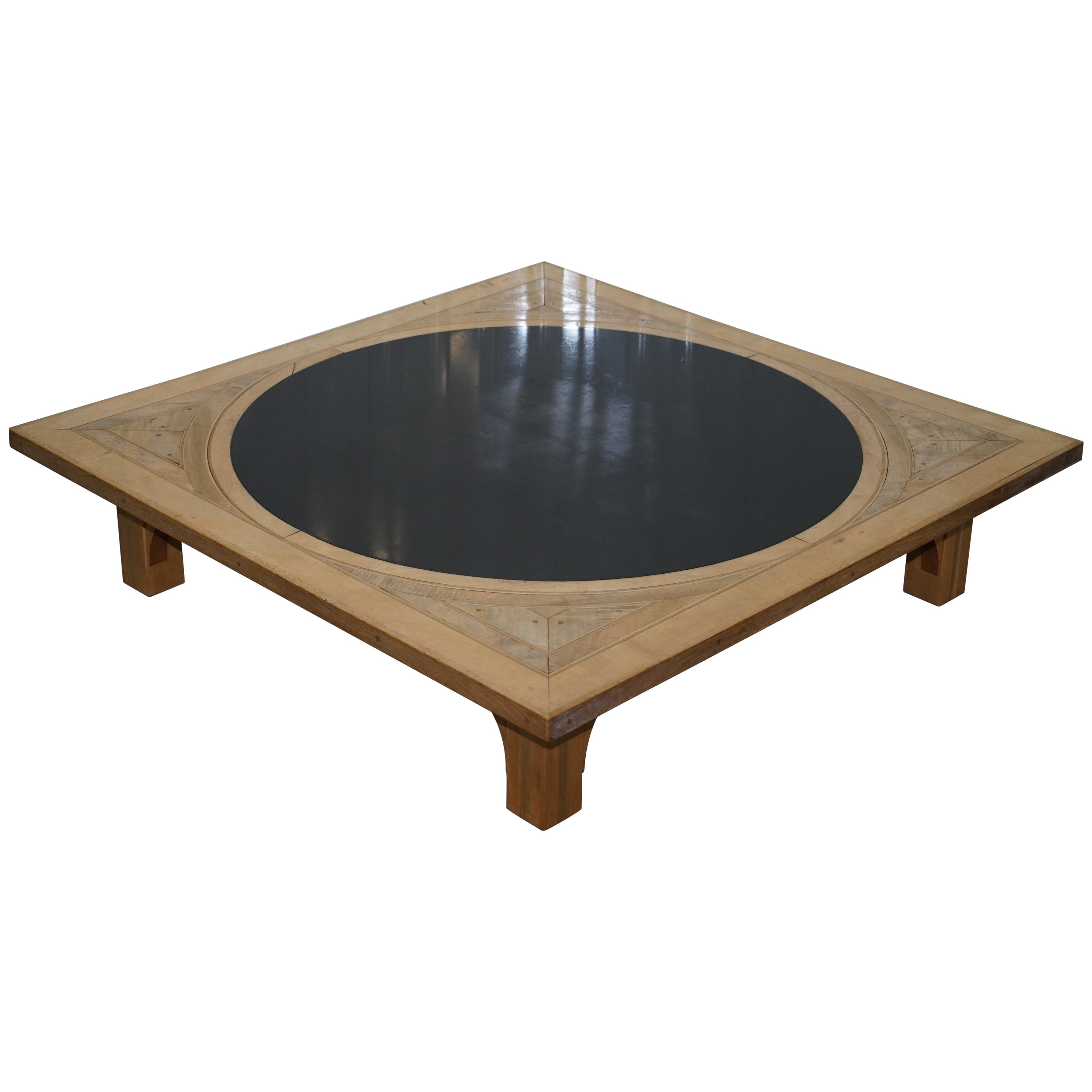 Solid Timber Coffee Table Rare Huge Solid Oak With Round Marble Centre Parquetry Inlaid Coffee Low Table