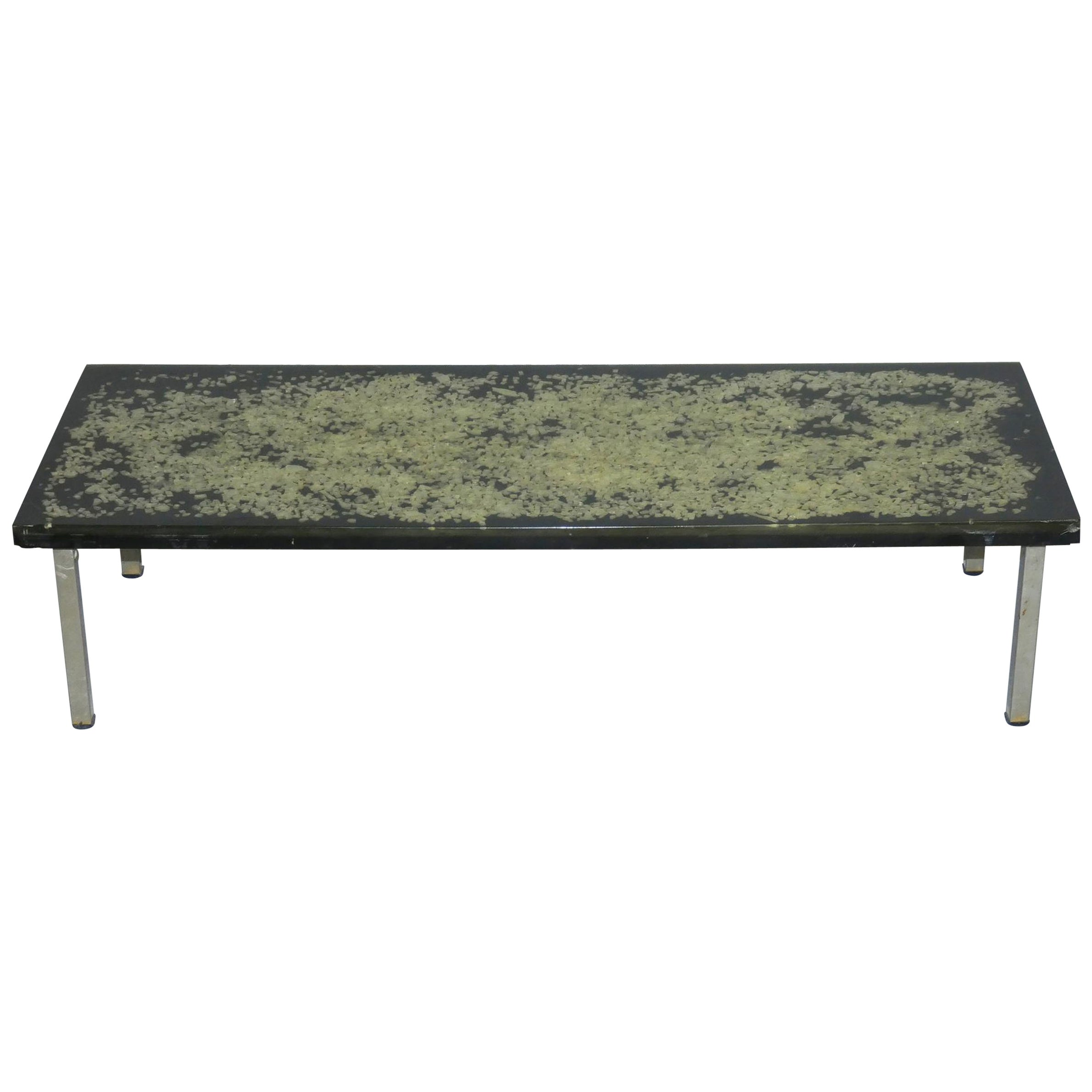 Table Basse En Metal Pierre Giraudon In Style Coffee Table In Resin And Metal Circa 1970