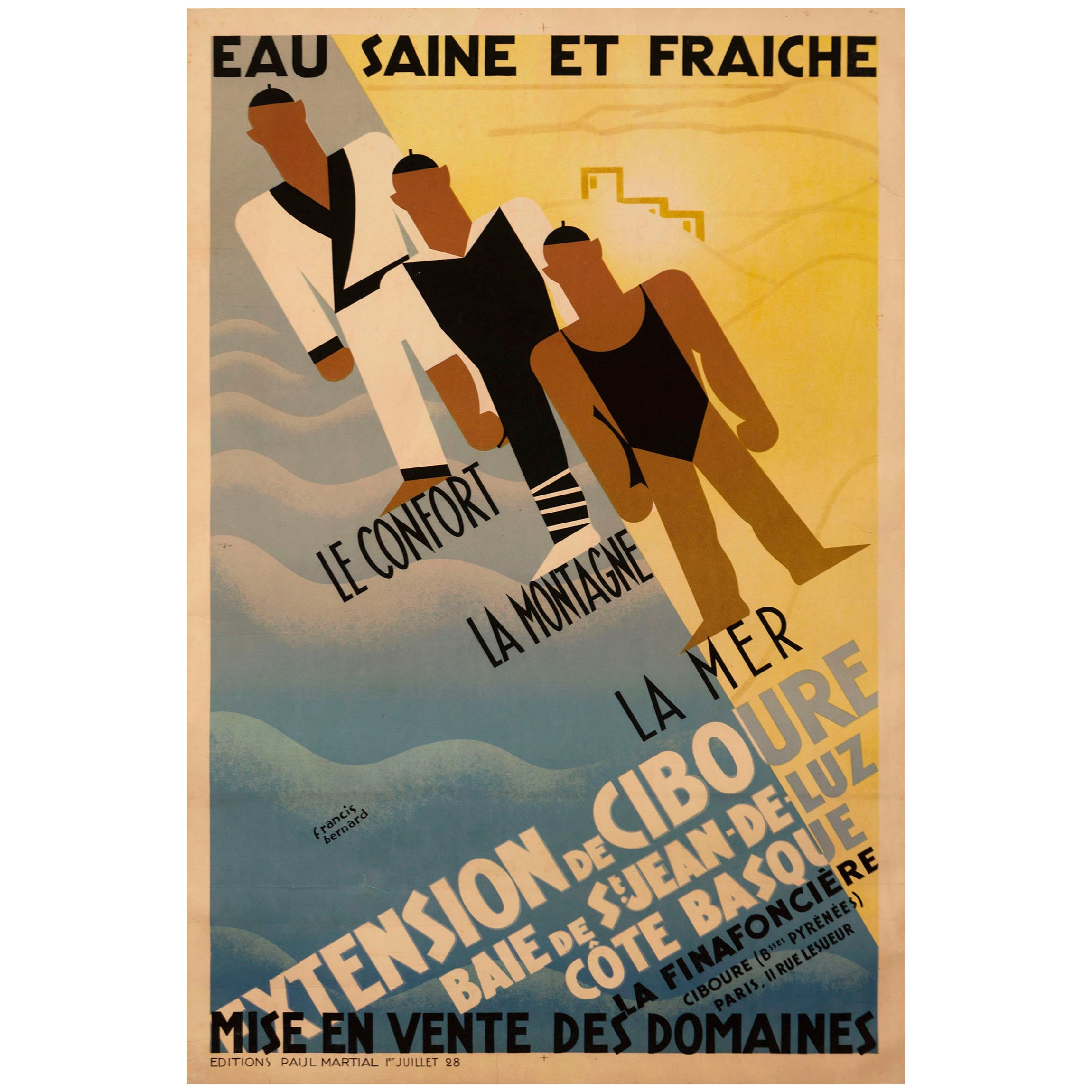 Deco Poster Original French Art Deco Poster For Ciboure On The Cote Basque By Bernard