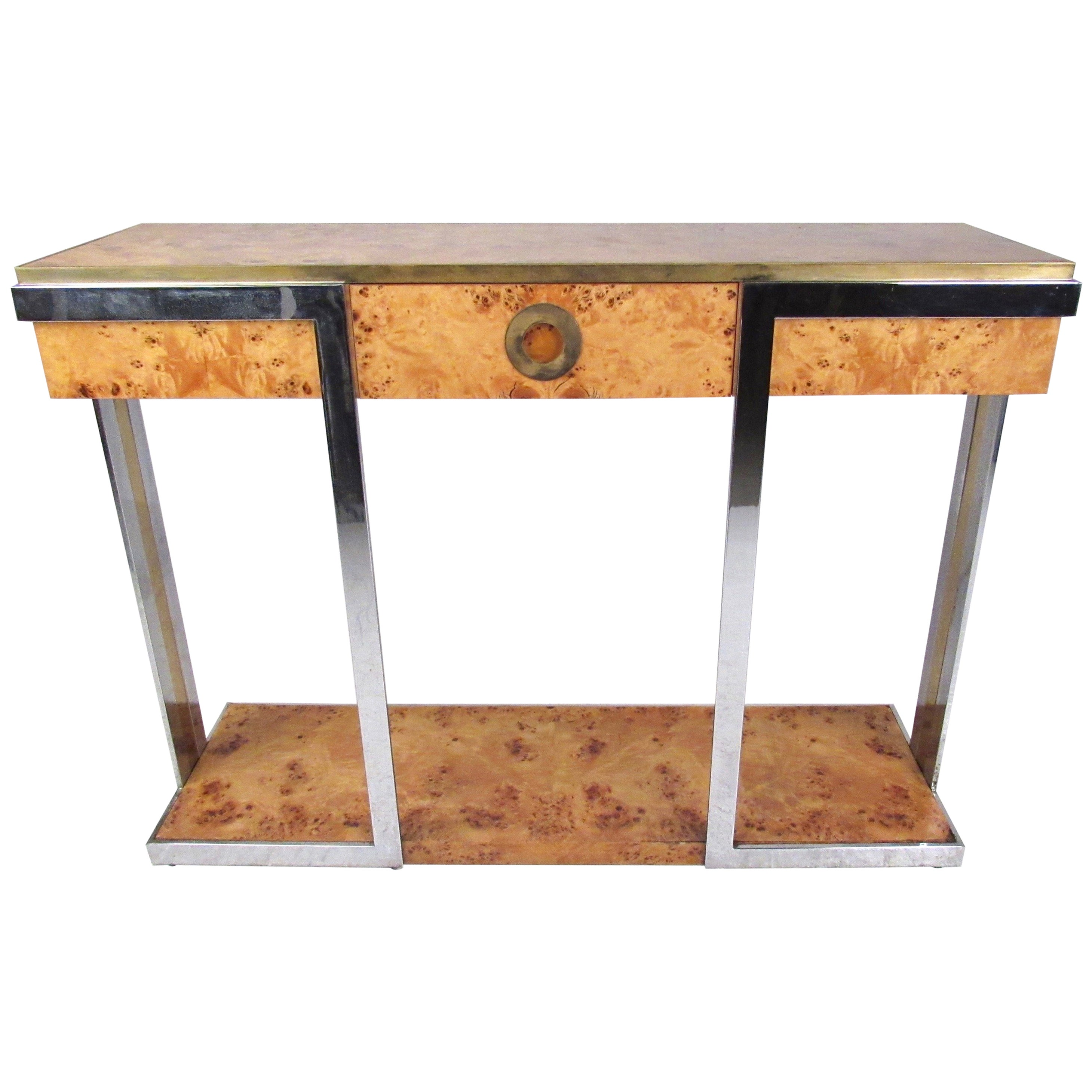 Vintage Hall Table Willy Rizzo Console Table In Burlwood And Brass By Mario Sabot