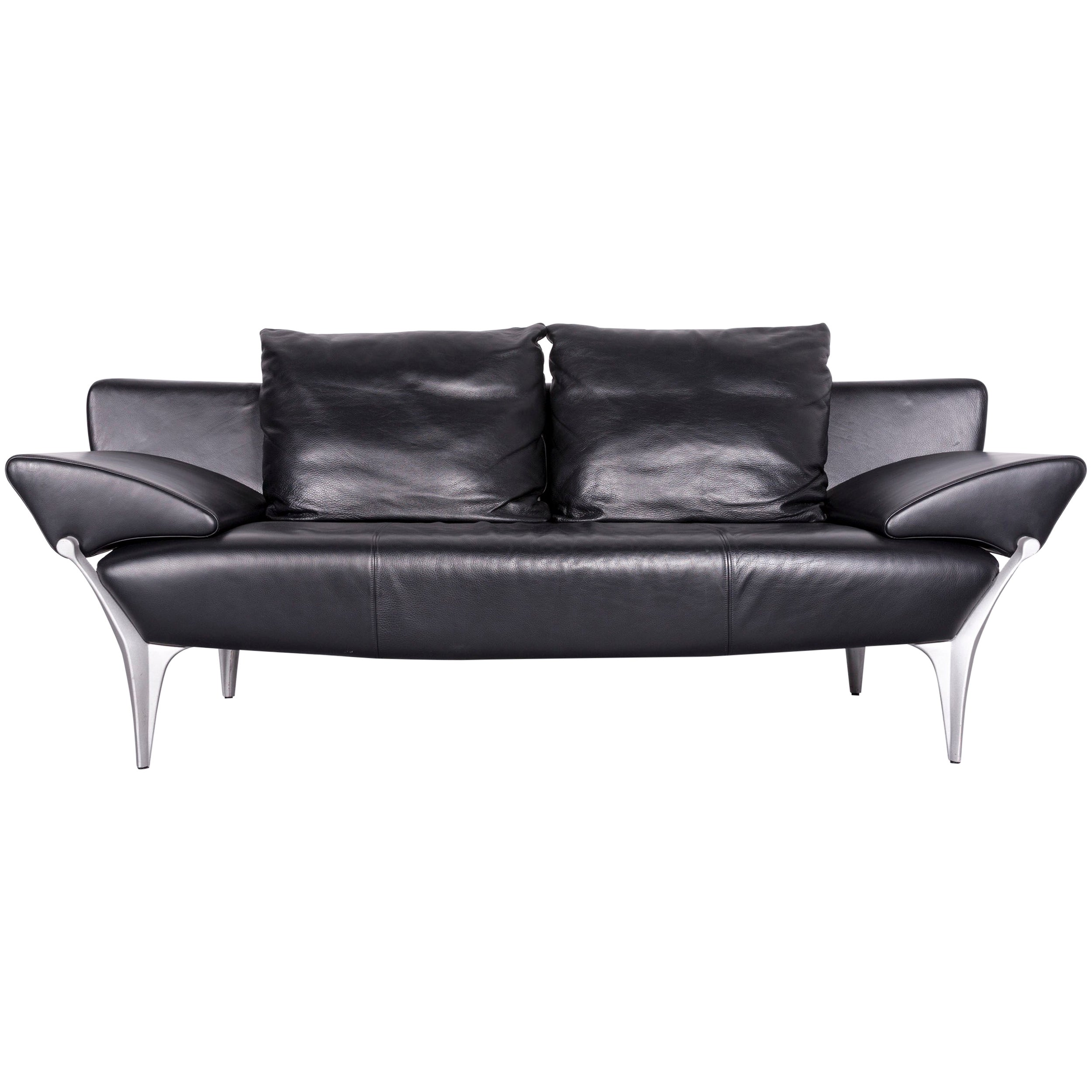 Rolf Benz Couch Rolf Benz 1600 Designer Leather Sofa Black Three Seat Couch