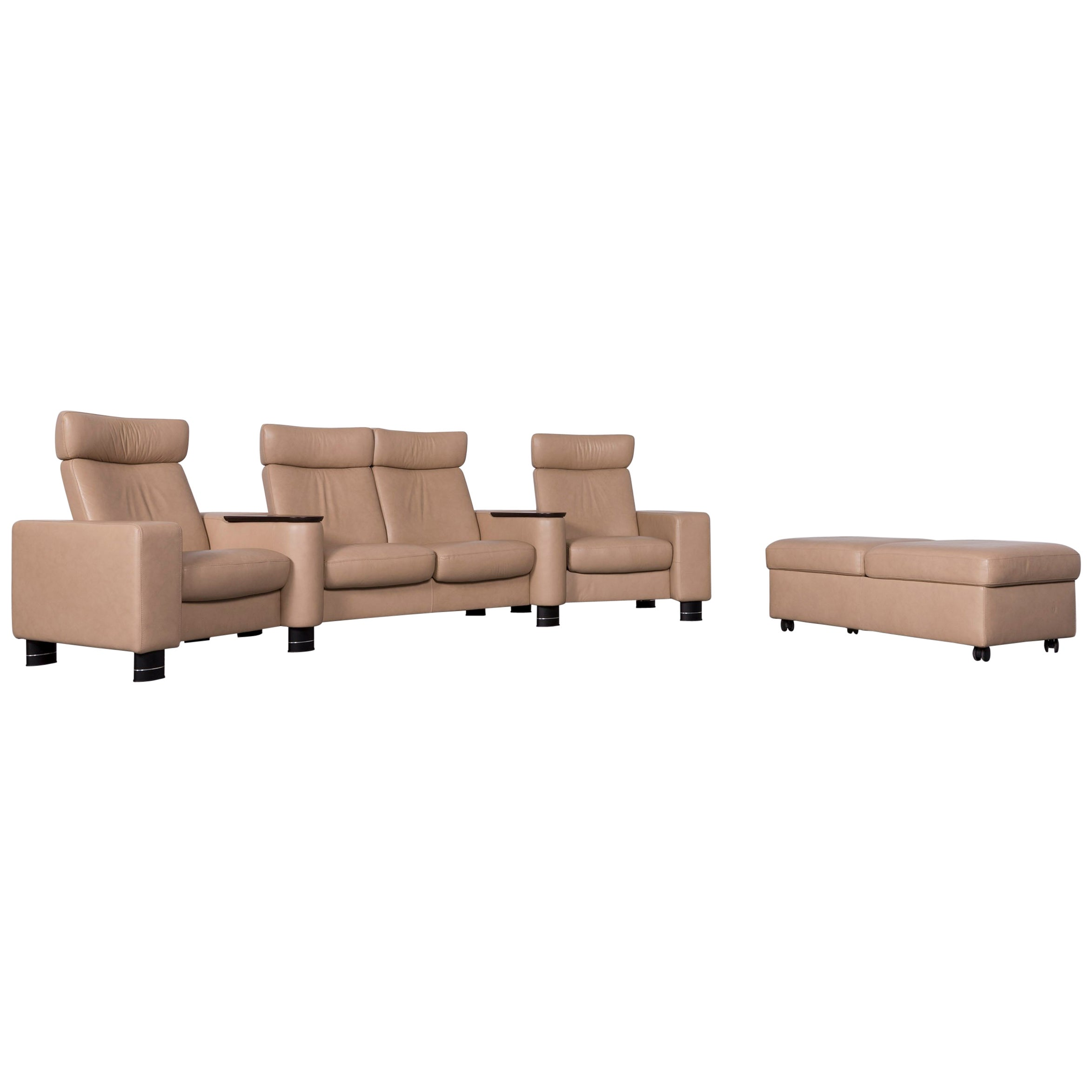 Ekornes Stressless Designer Leather Sofa Beige Four Seat Recliner Couch For Sale At 1stdibs
