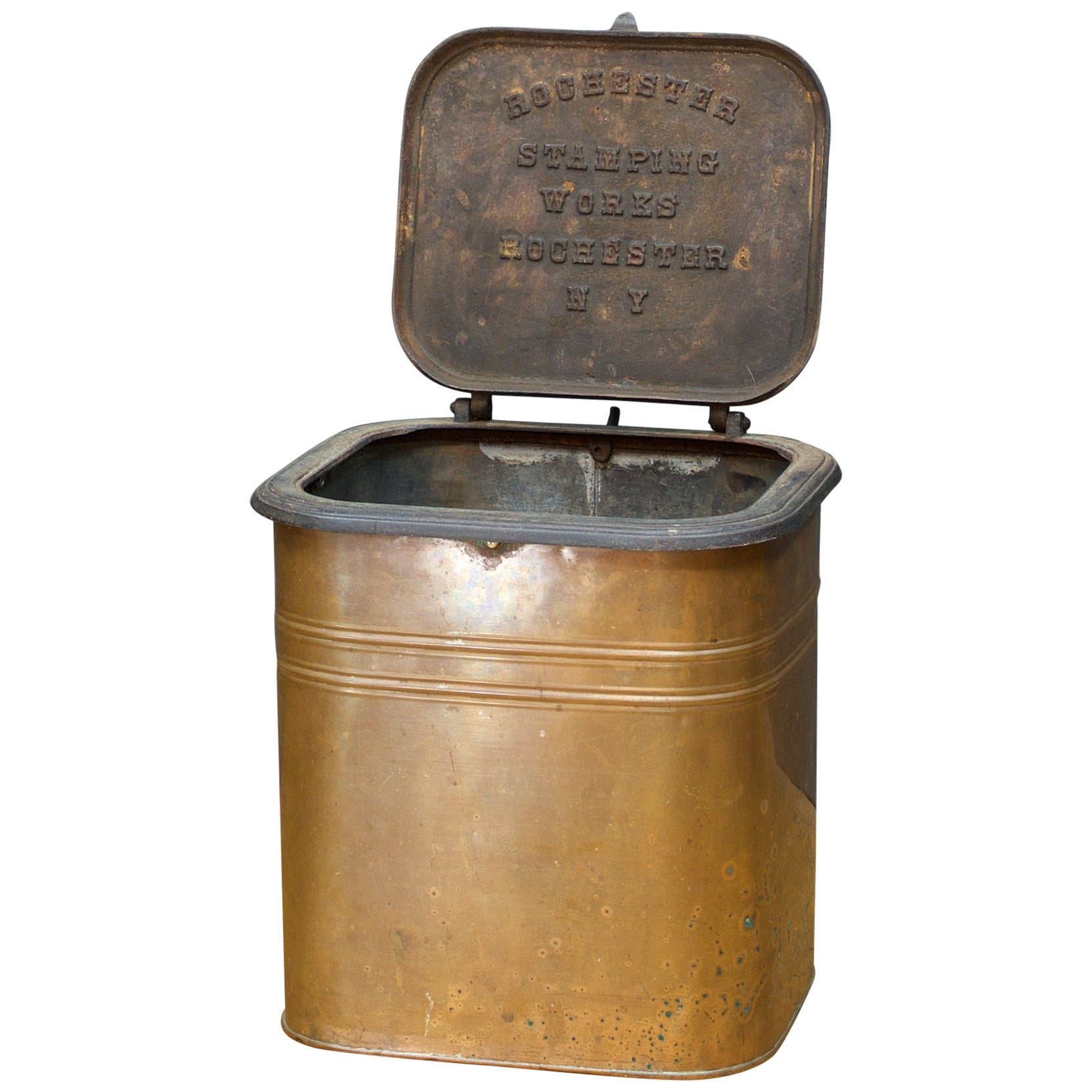 Copper Trash Can With Lid 1880s Rochester Stamping Works Copper Coal Can Industrial Waste Trash Bin