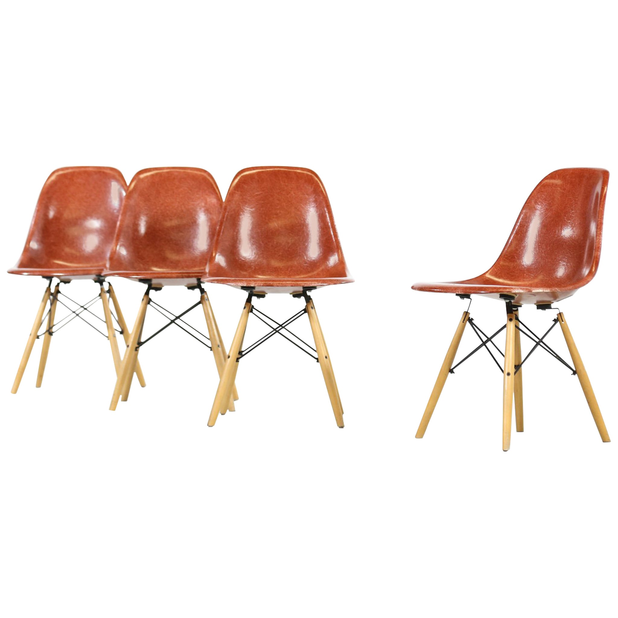 Eames Dsw Set Of Four Eames Dsw For Modernica Dining Chairs