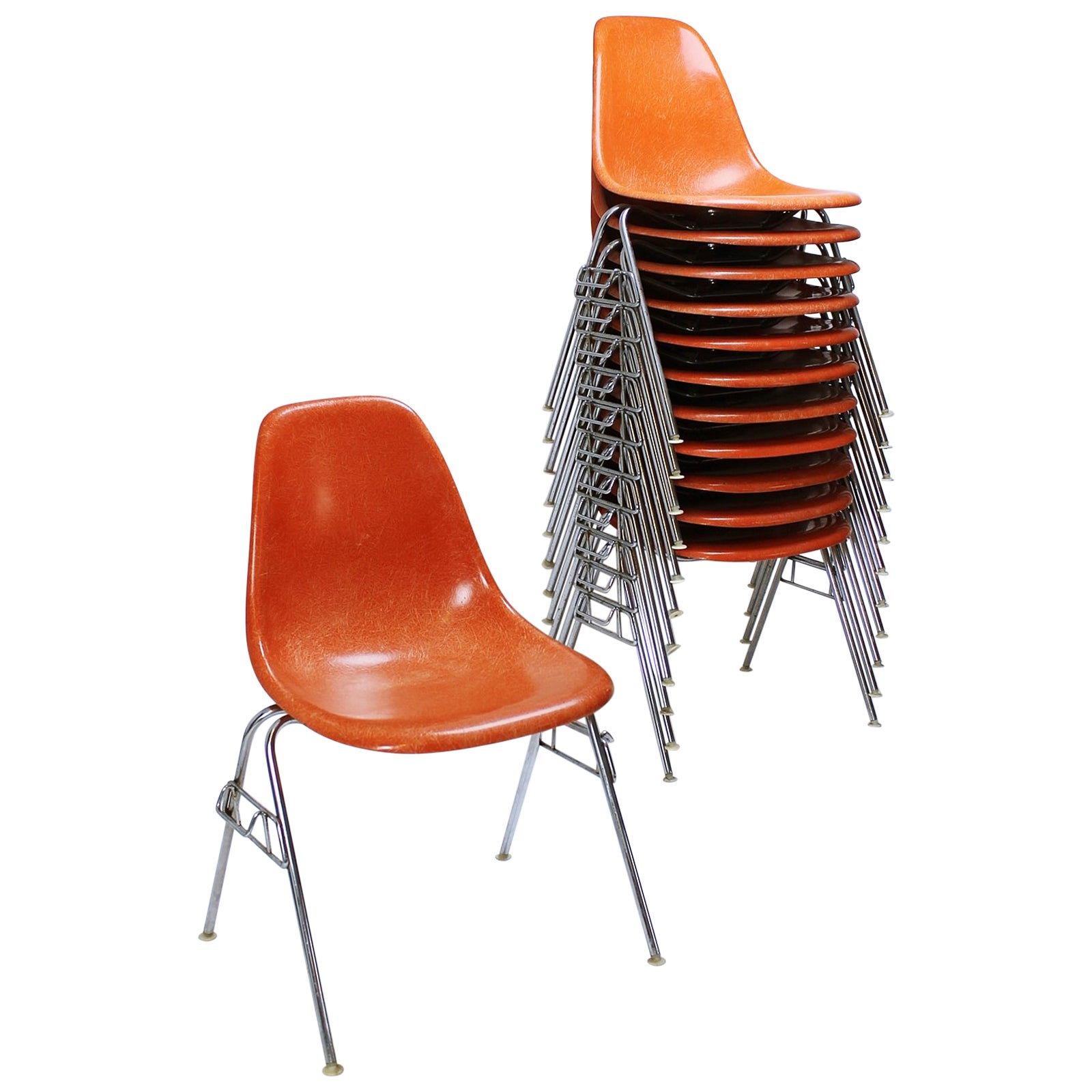 Charles Eames Fiberglass Dss Stacking Chair By Ray Charles Eames For Herman Miller Vitra