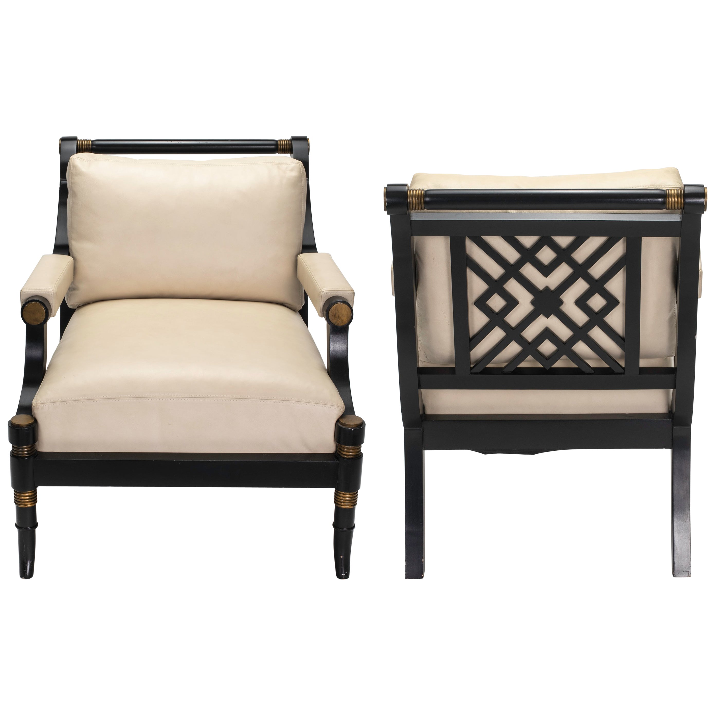 Arm Chairs Pair Of Cream Leather Lounge Armchairs