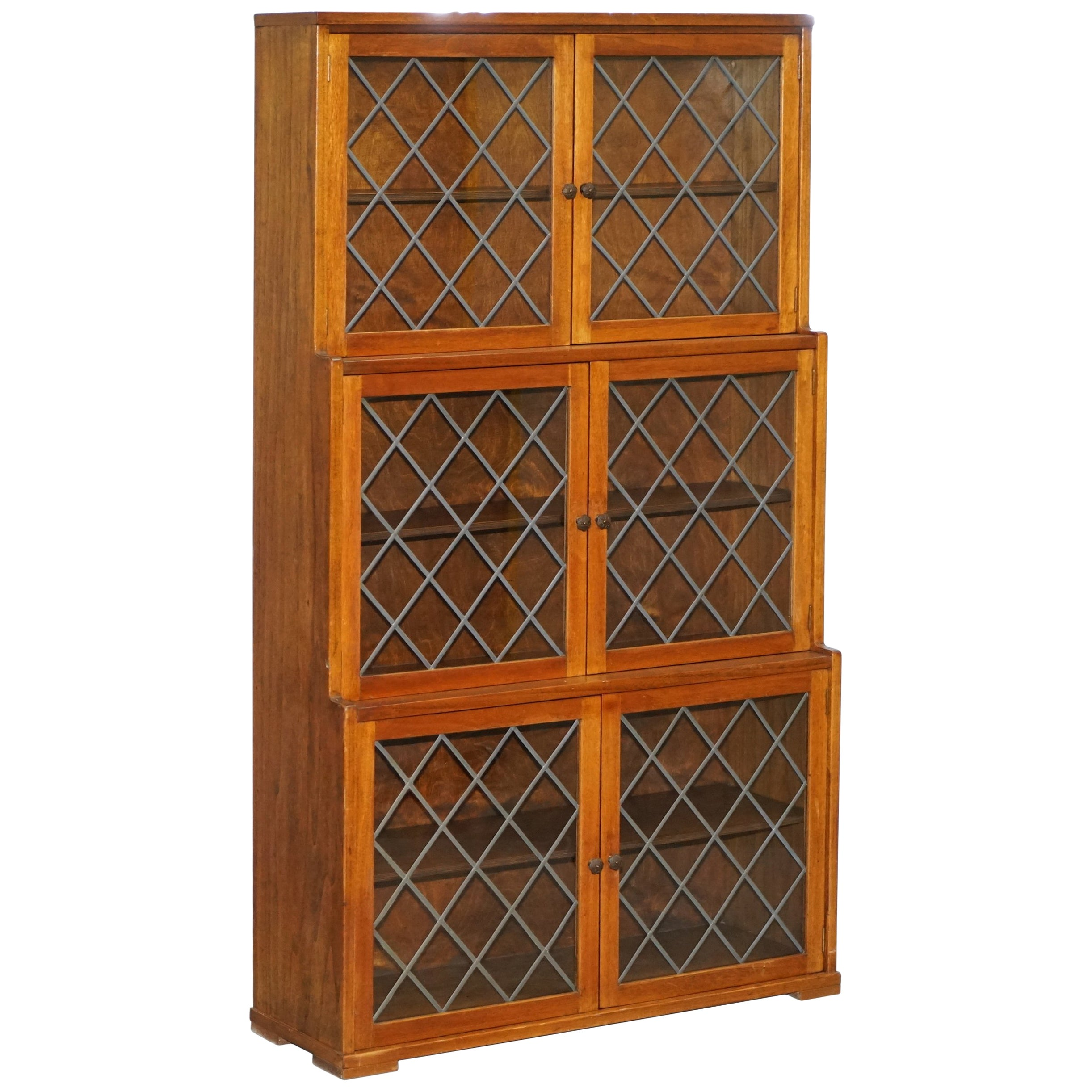 Vintage Bookcase Lovely Vintage Mahogany Three Tiered Waterfall Bookcase With Lead Lined Glass