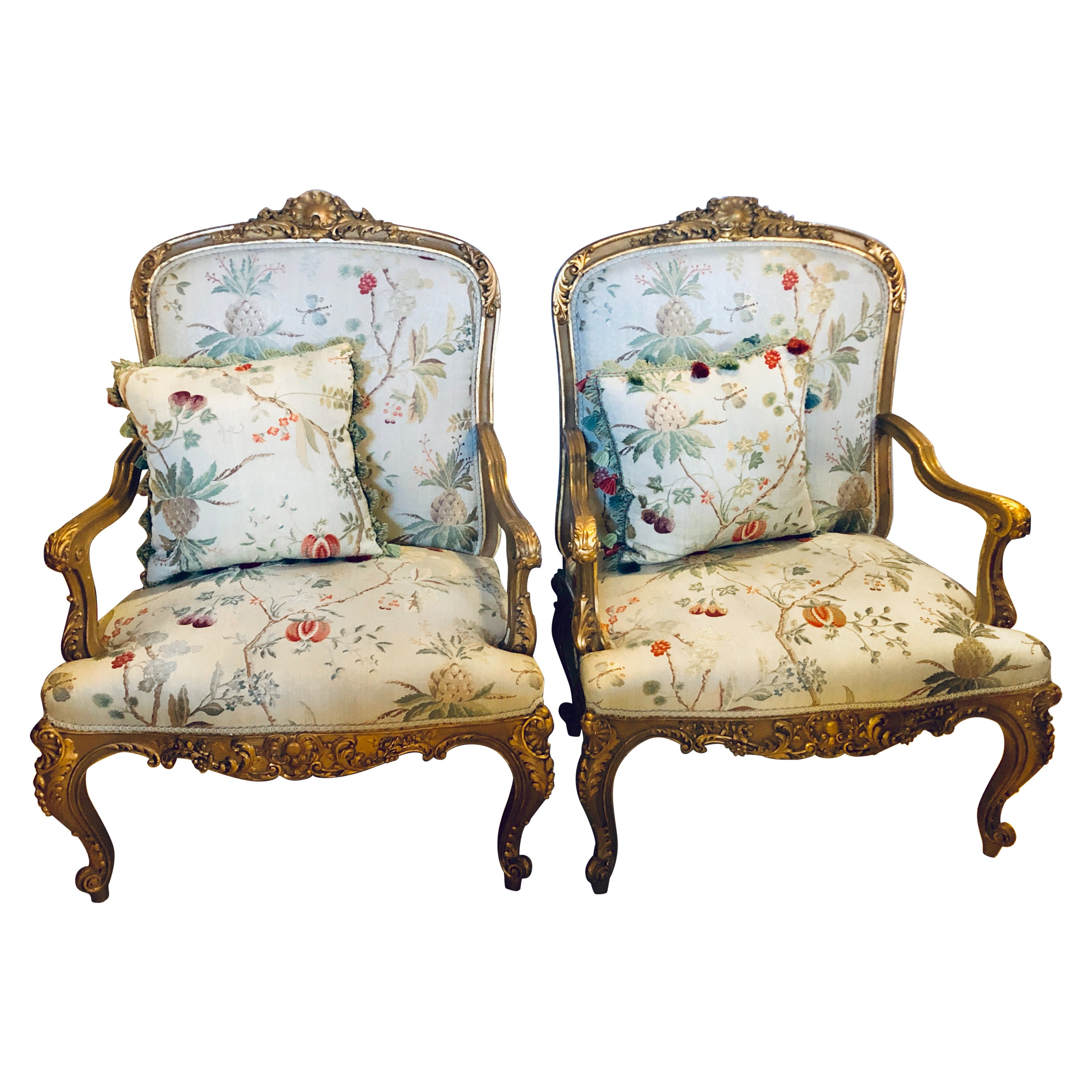 Fauteuils Bergeres Pair Gilt Wood Louis Xv Style Bergeres Or Fauteuils In Scalamandre Fabric Jansen
