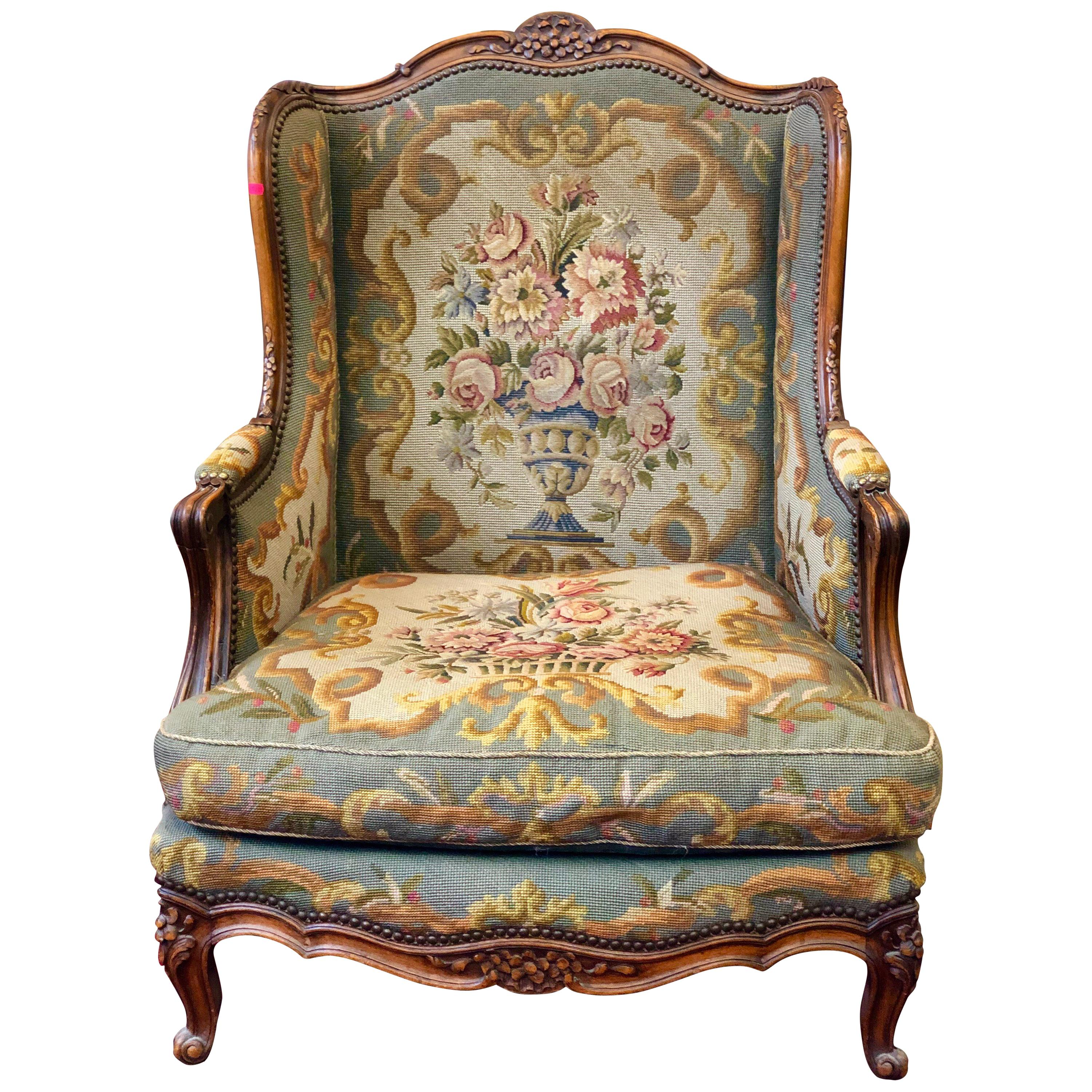 Fauteuils Bergeres Oreilles Antique Fauteuil Bergere Carved Wood Wingback Tapestry Lounge Armchair France