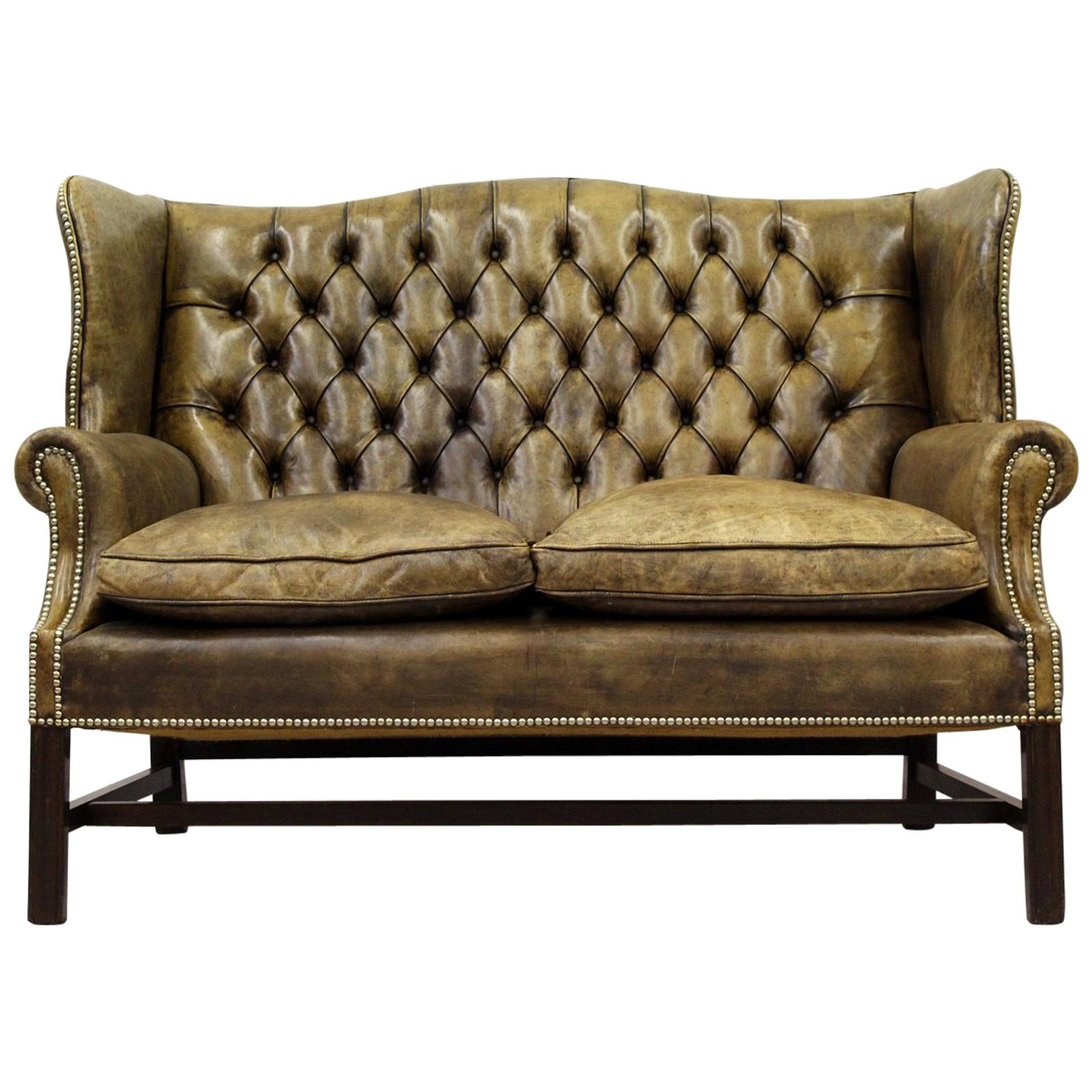 Vintage Couch Chesterfield Sofa Leather Antique Vintage Couch English Chippendale