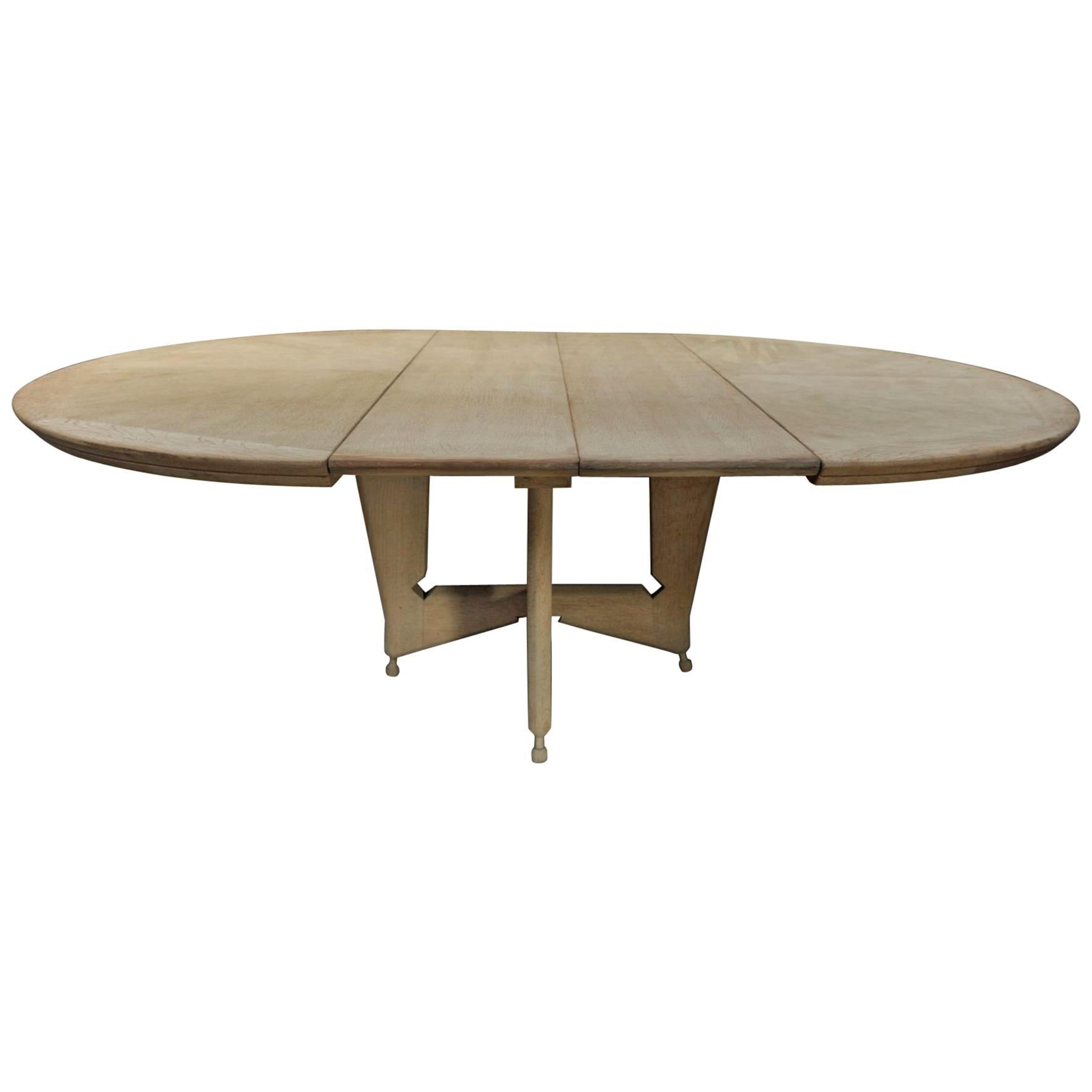 Table Ovale Oak Round Or Ovale Dining Table Guillerme Chambron 1950s