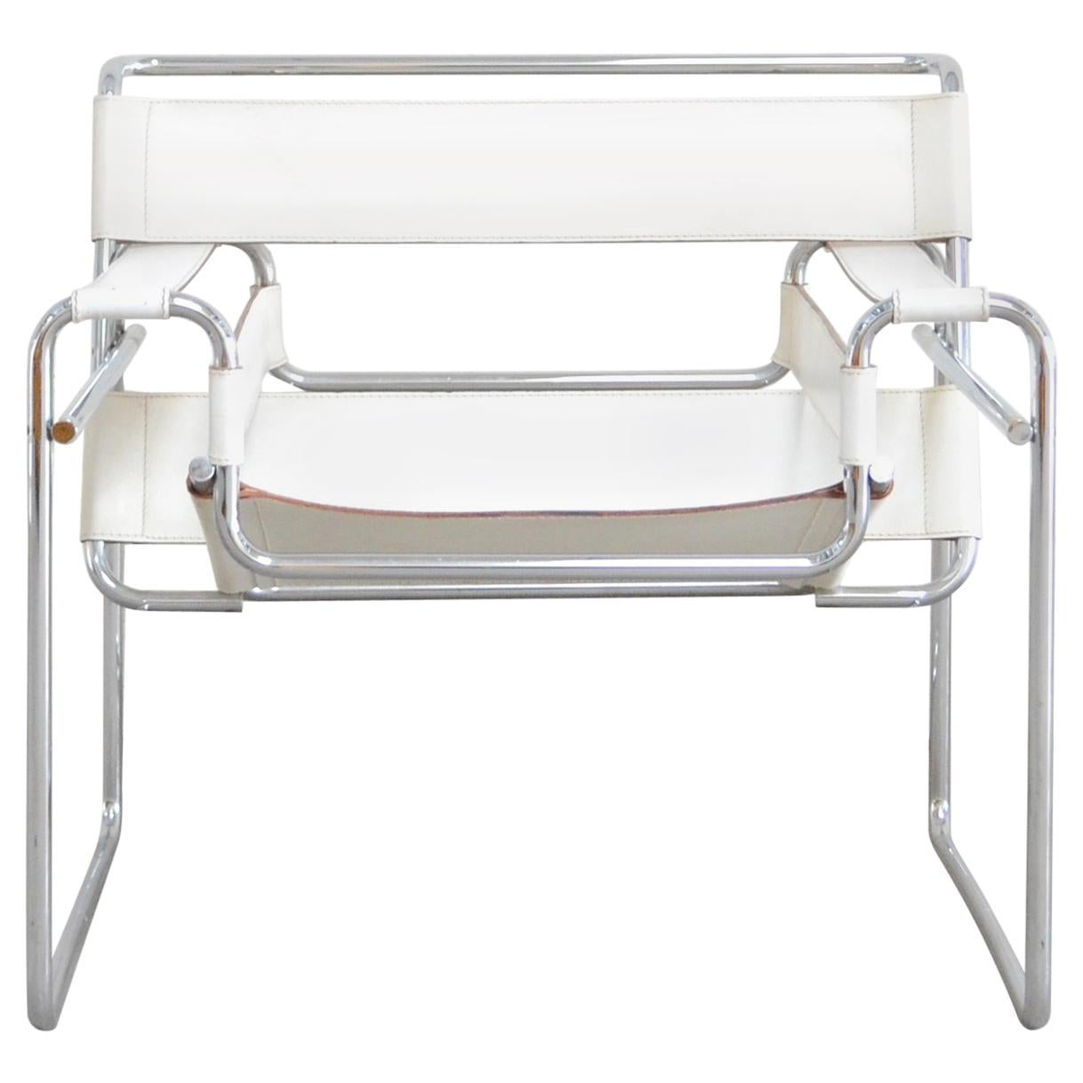 Wassily Chair Gavina Wassily Chair Leather White By Marcel Breuer