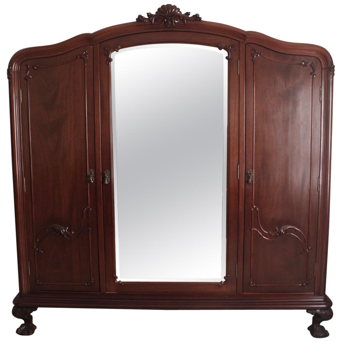Dimension Armoire Chippendale Ball Claw Mahogany Wood Armoire Or Wardrobe With 3 Vanity Mirrors