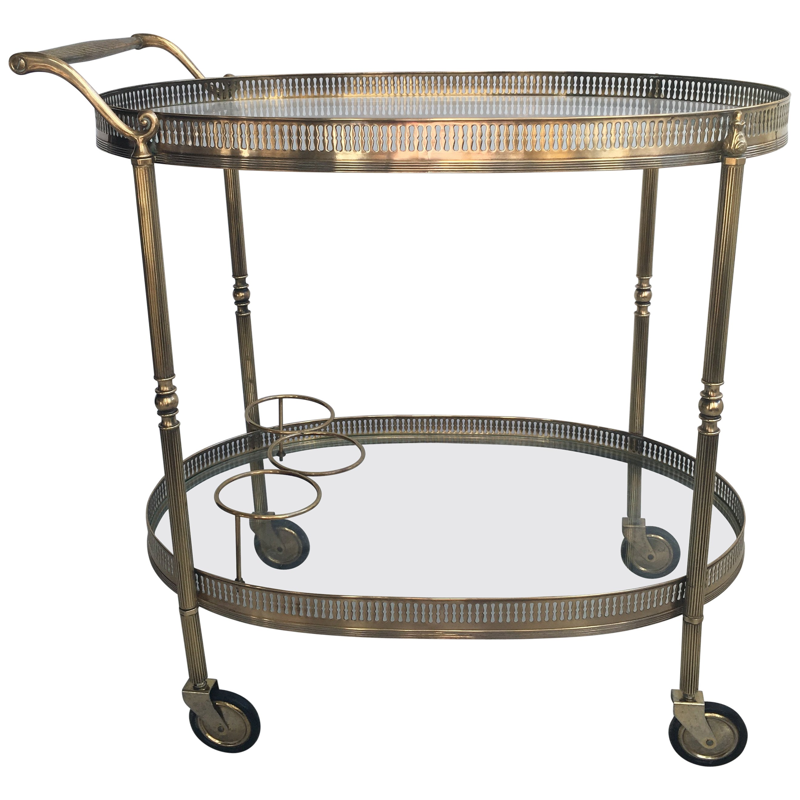 A Frame Trolley Vintage French Brass Oval Drinks Trolley Or Bar Cart