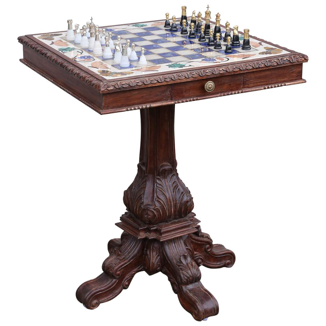 Chess Table Marble Chess Table Inlaid With Semiprecious Stones And With Silver Chessmen