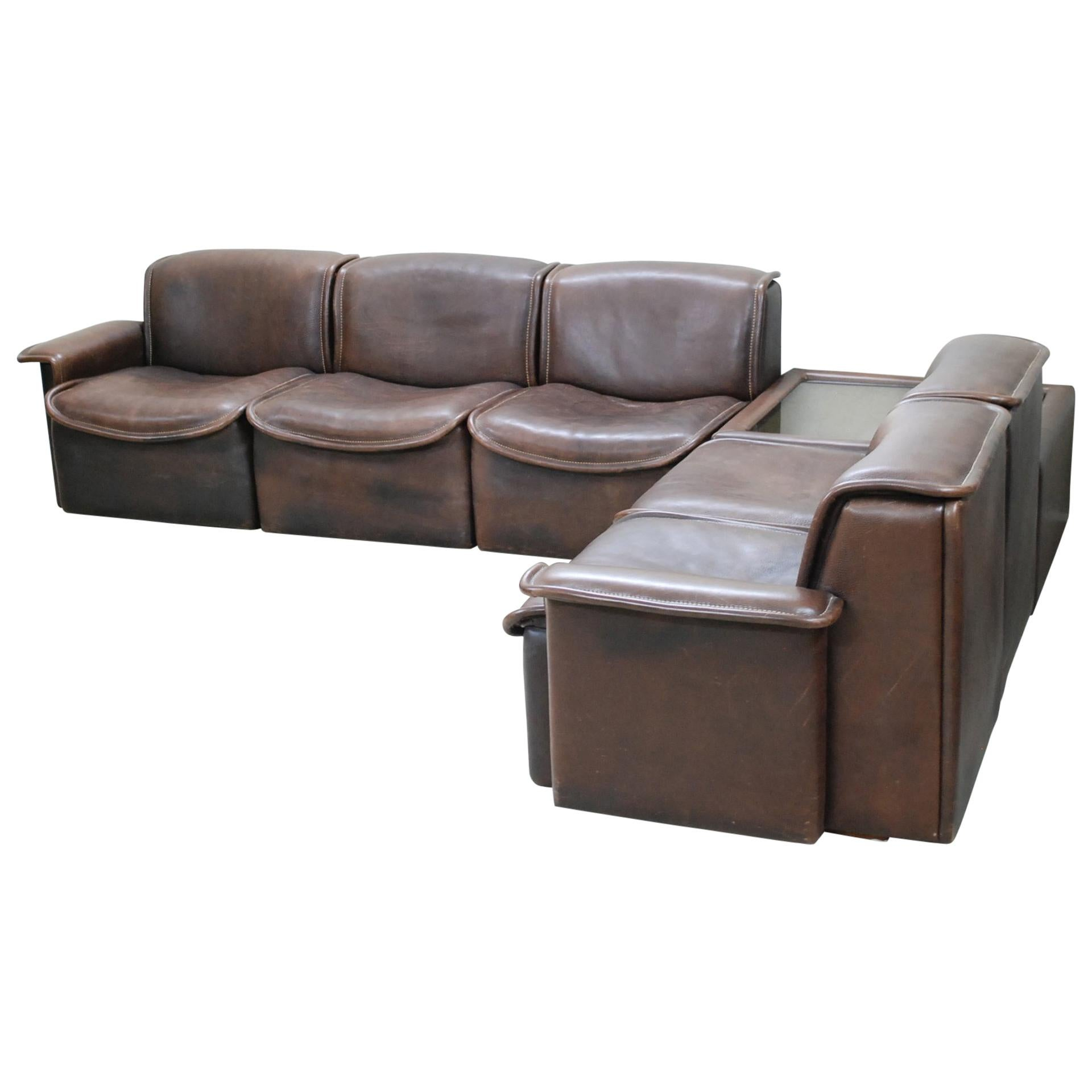 Sofa Module De Sede Ds 12 Module Vintage Neck Leather Sofa Brown And Coffeetable