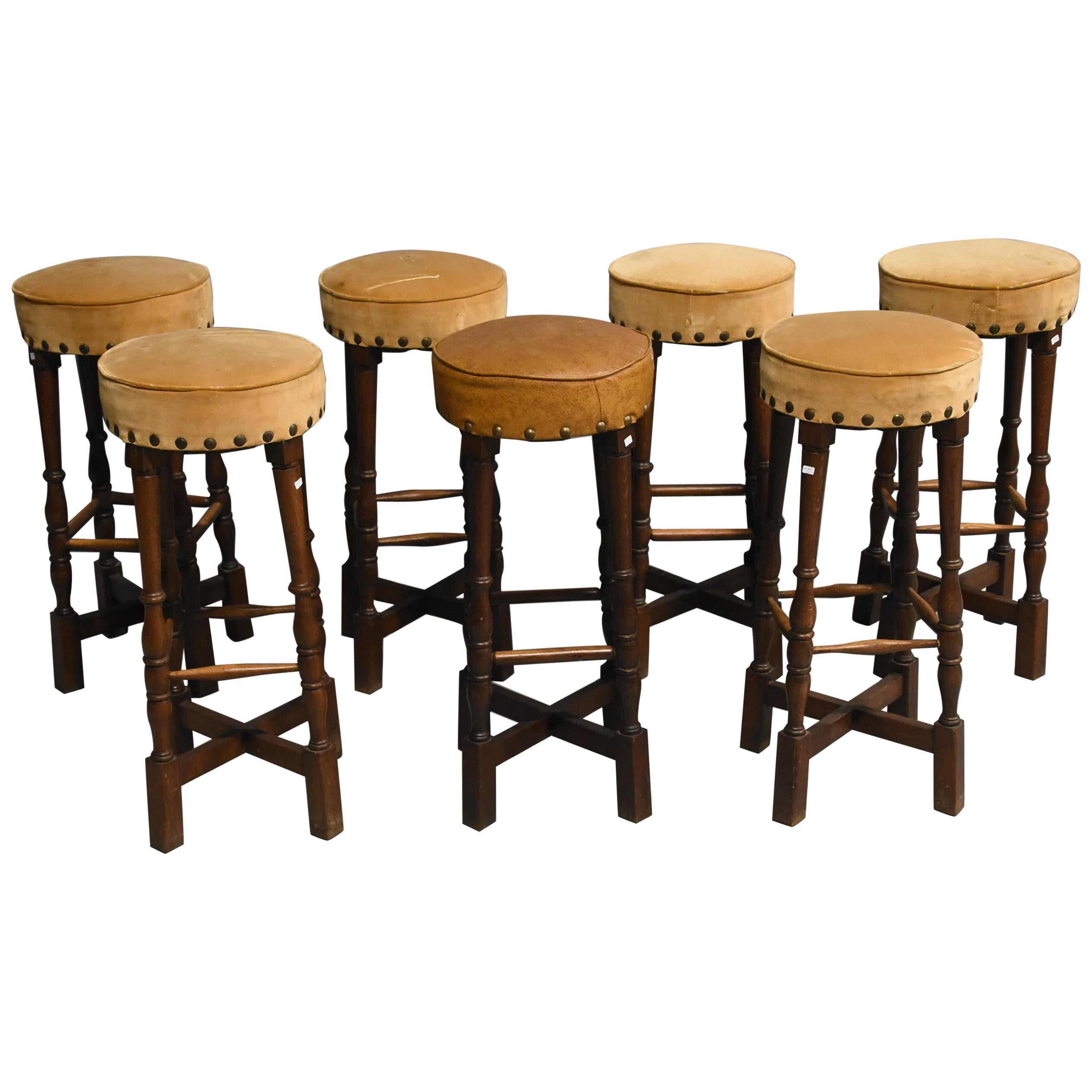 Rustic Style Bar Suite Of 7 Bar Stools Oak Neo Rustic Style Circa 1960