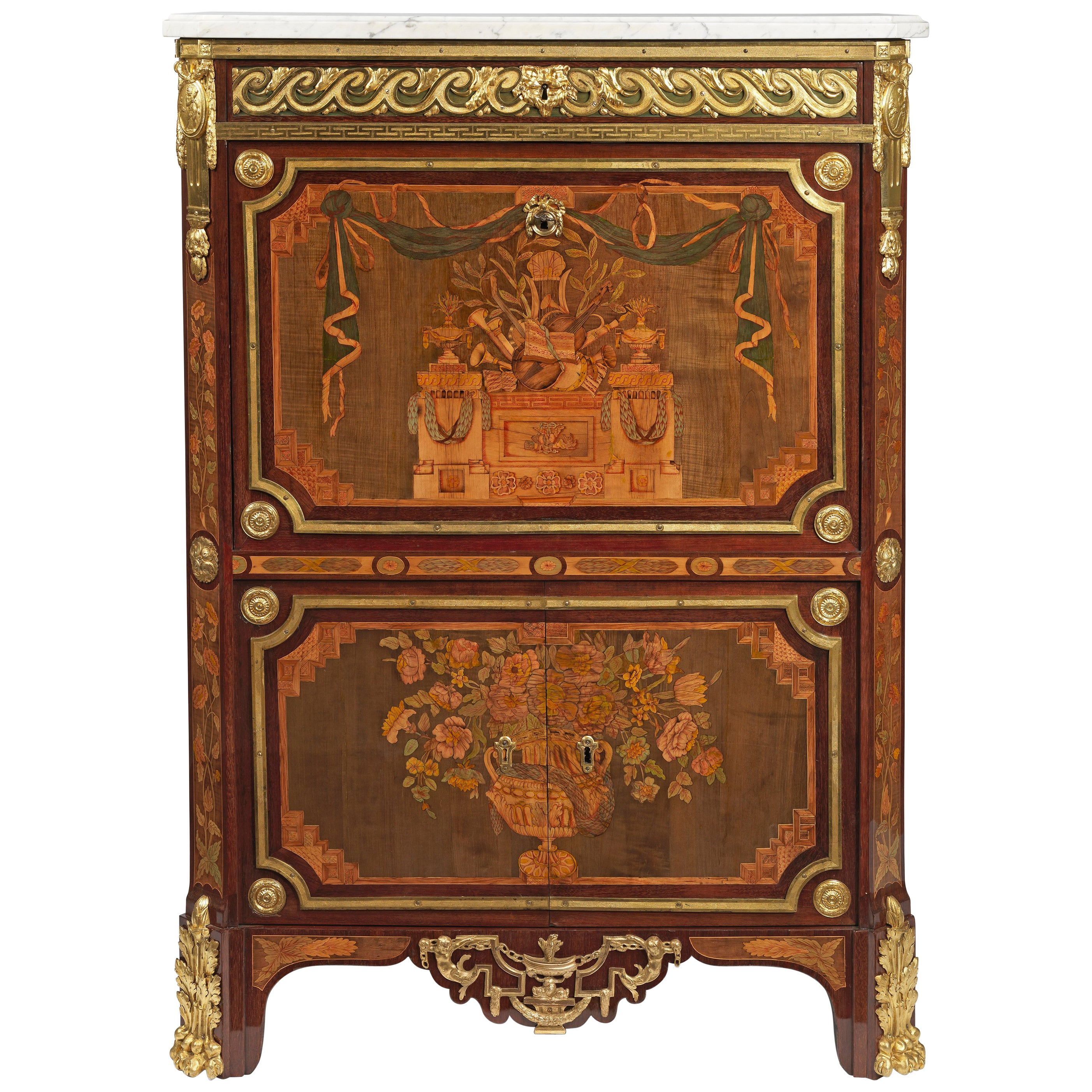 Mapple Meubles Anglais Louis Xvi Ormolu Mounted Marquetry And Parquetry Secretaire à Abattattant