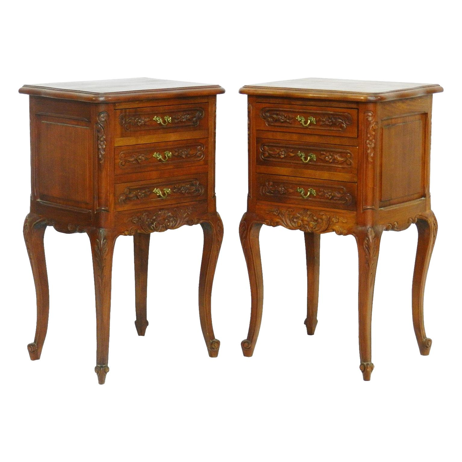 Oak Bedside Tables Pair Of Early 20th Century Continental Oak Bedside Cabinets With Marble Tops