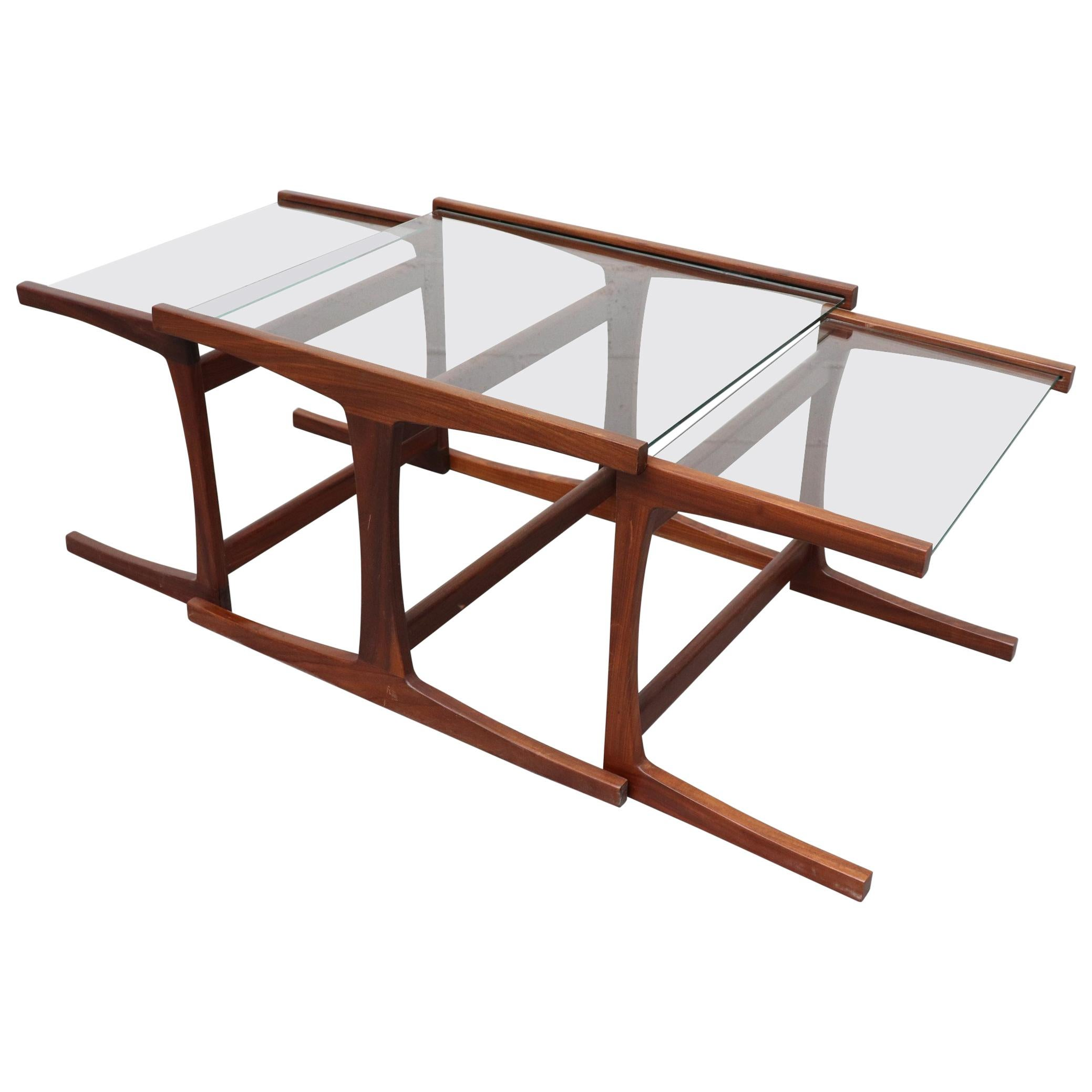 Glass Nesting Tables Shogun Style Teak And Glass Nesting Tables