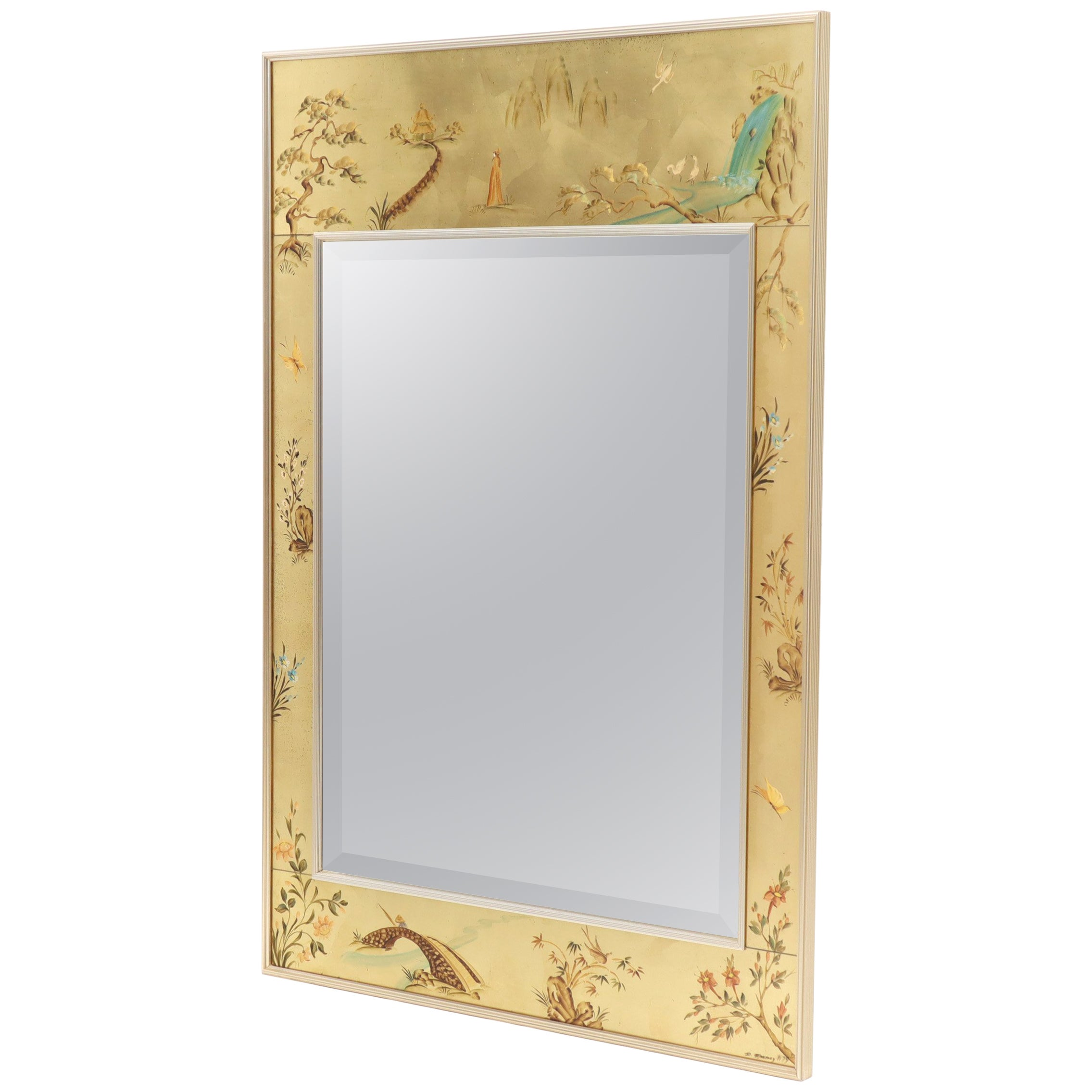 Decorative Mirror La Barge Reverse Painted Gold Leaf Rectangular Frame Decorative Mirror