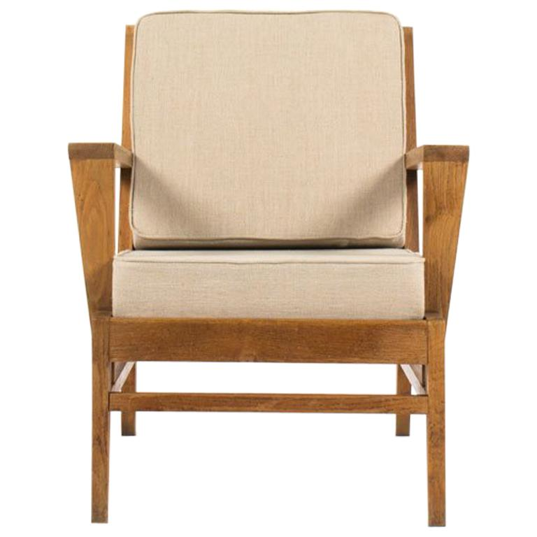 Fauteuils René Gabriel Rene Gabriel Armchair In Oak And Beige Linen Fabric Edition Lieuvin 1950