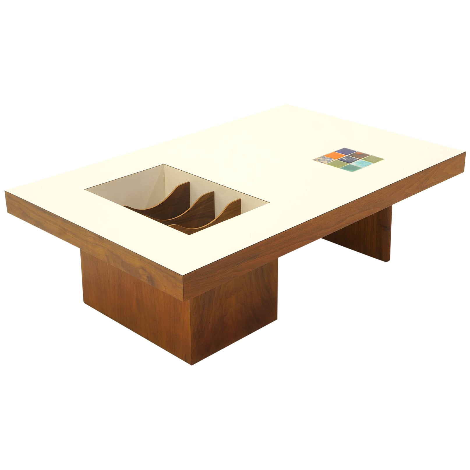 Modern Coffee Table With Storage Danish Modern Coffee Table With Built In Magazine Album Storage Tile Inlay
