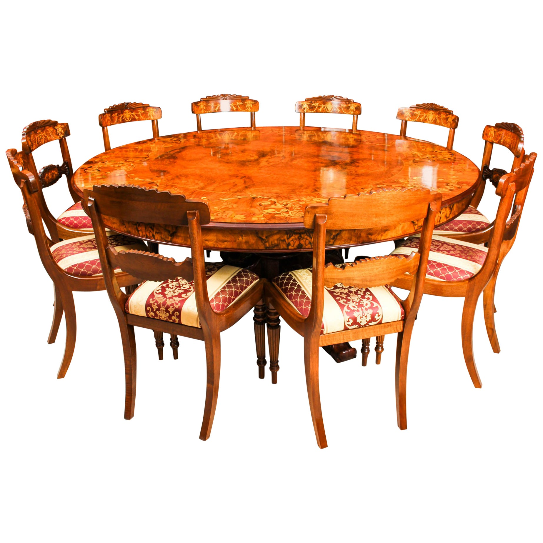 10 Seat Dining Table Set Vintage Round Marquetry Dining Table 10 Chairs